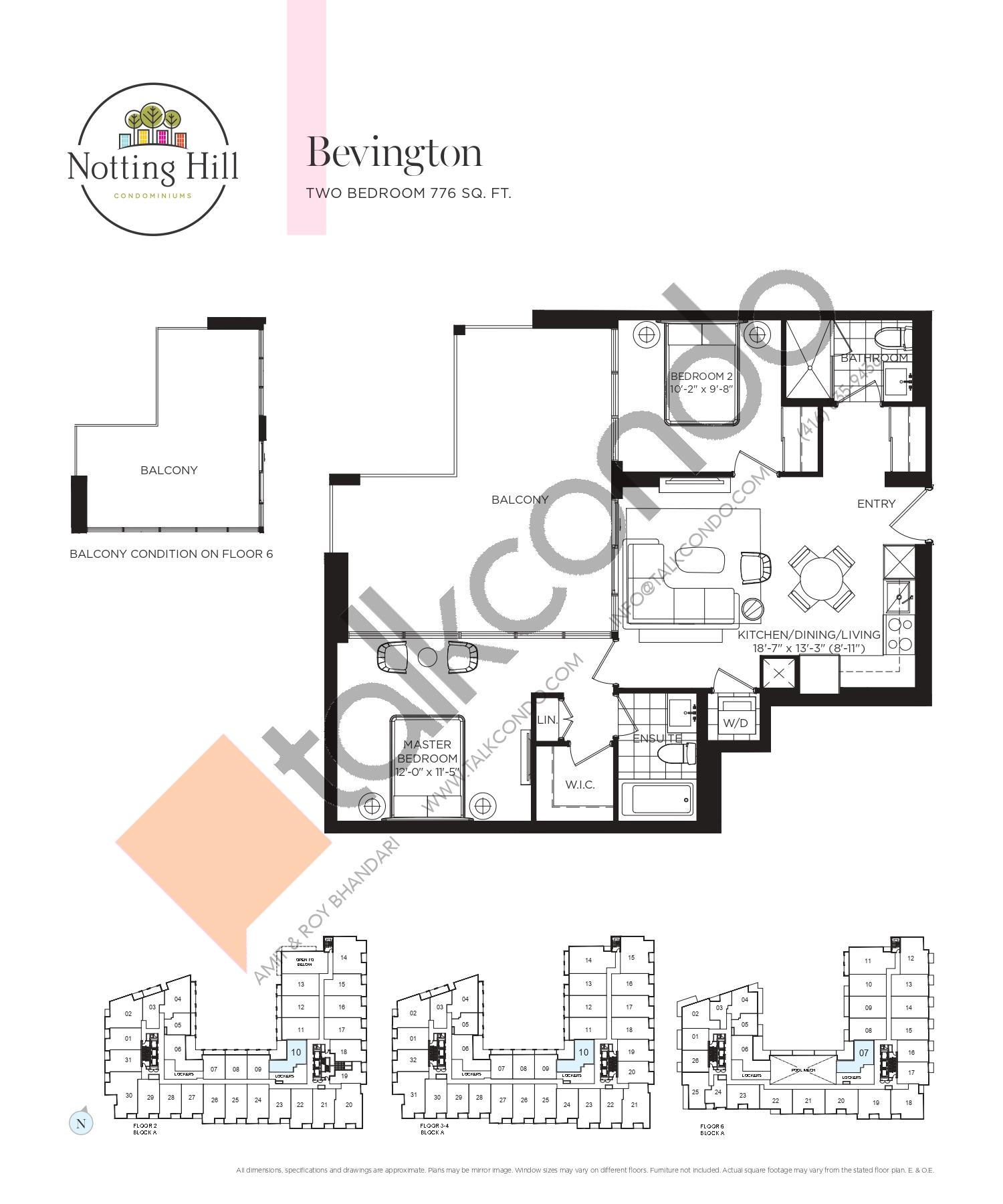 Bevington Floor Plan at Notting Hill Phase 2 Condos - 776 sq.ft