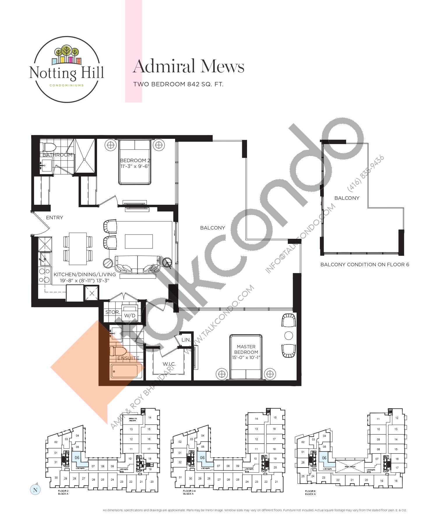 Admiral Mews Floor Plan at Notting Hill Phase 2 Condos - 842 sq.ft