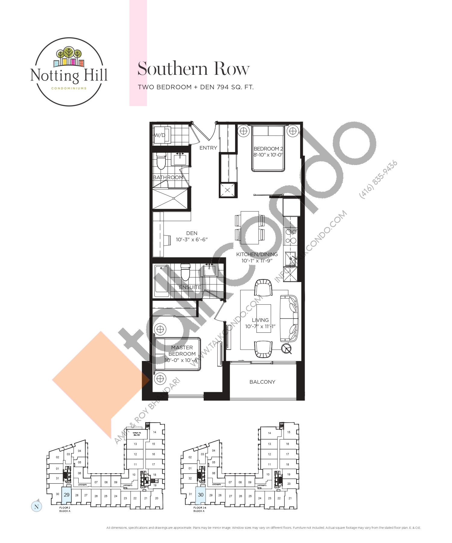 Southern Row Floor Plan at Notting Hill Phase 2 Condos - 794 sq.ft