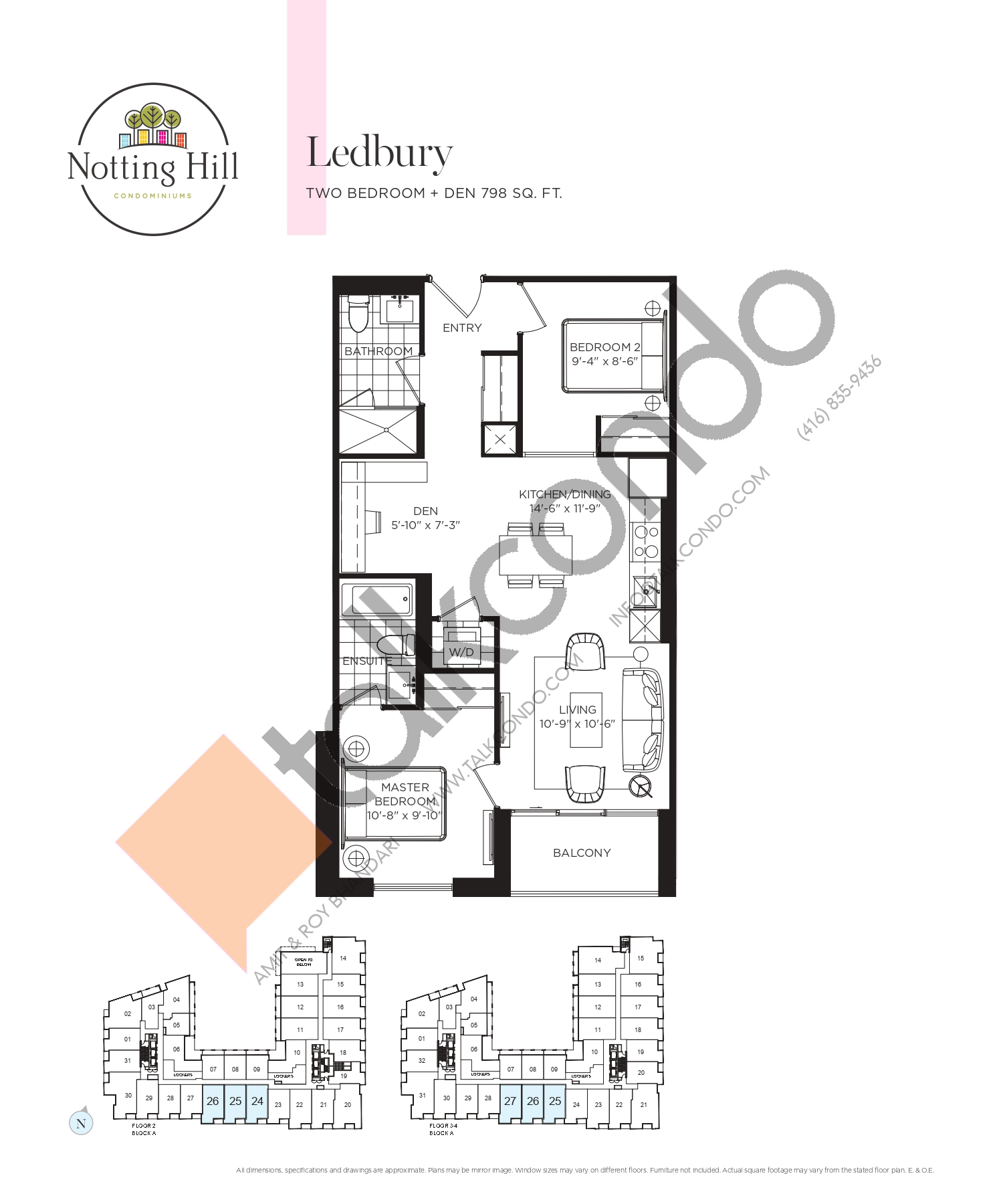 Ledbury Floor Plan at Notting Hill Phase 2 Condos - 798 sq.ft