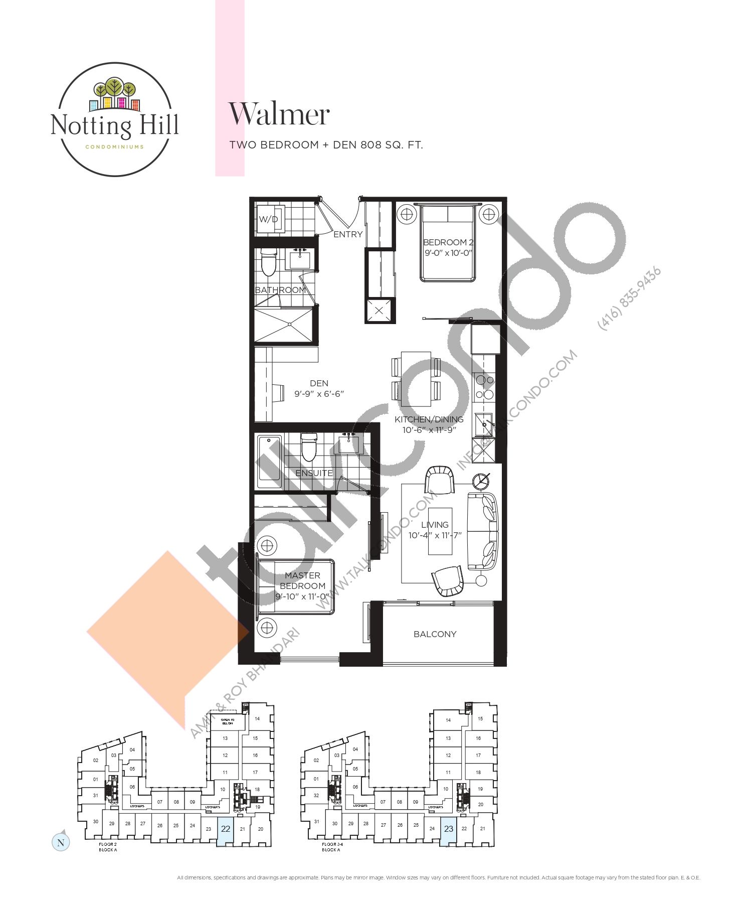 Walmer Floor Plan at Notting Hill Phase 2 Condos - 808 sq.ft