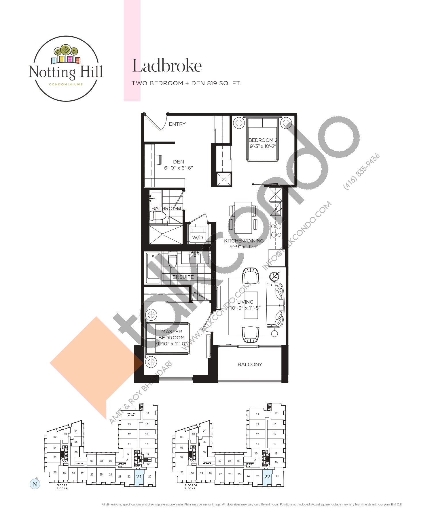 Ladbroke Floor Plan at Notting Hill Phase 2 Condos - 819 sq.ft