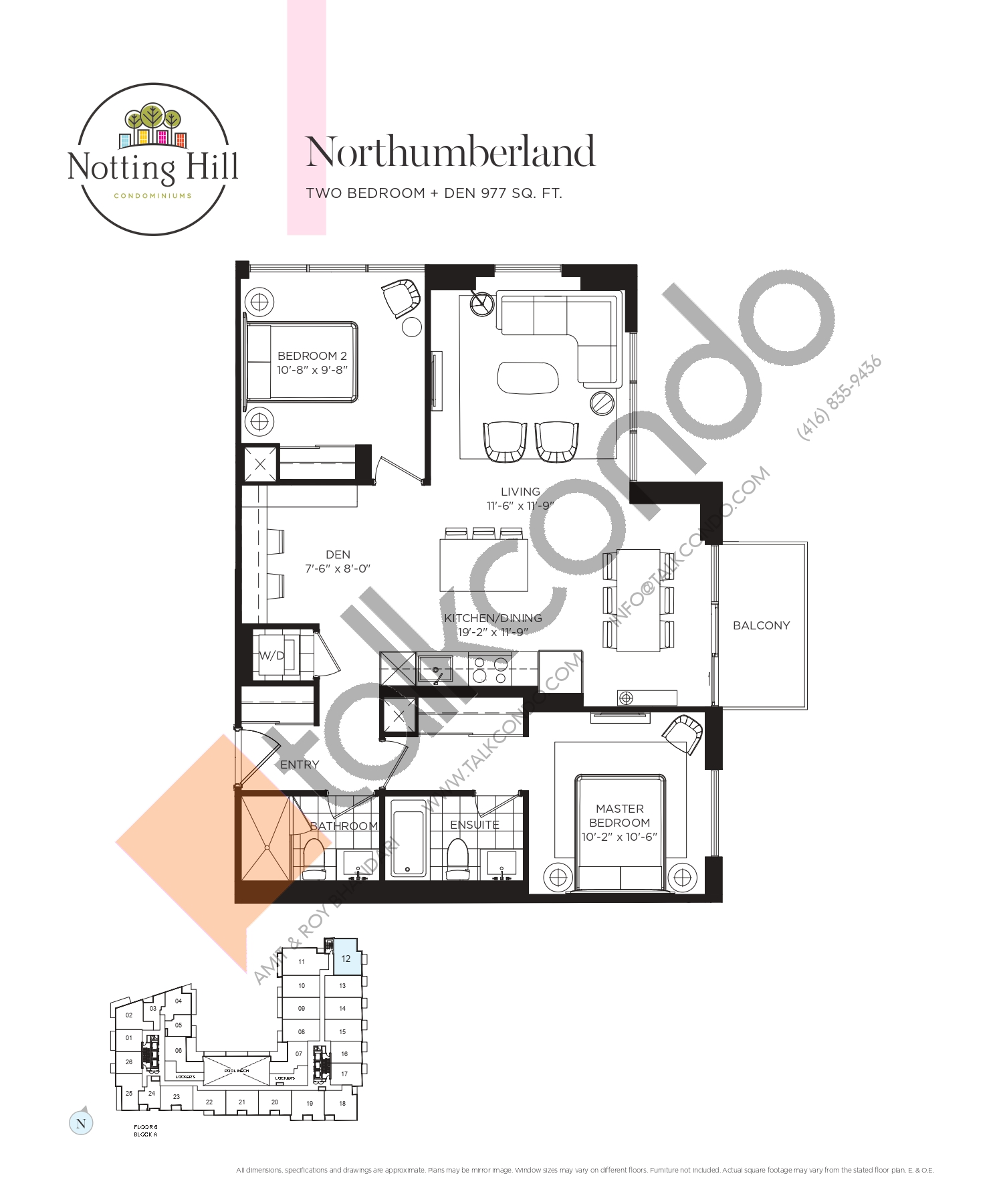 Northumberland Floor Plan at Notting Hill Phase 2 Condos - 977 sq.ft