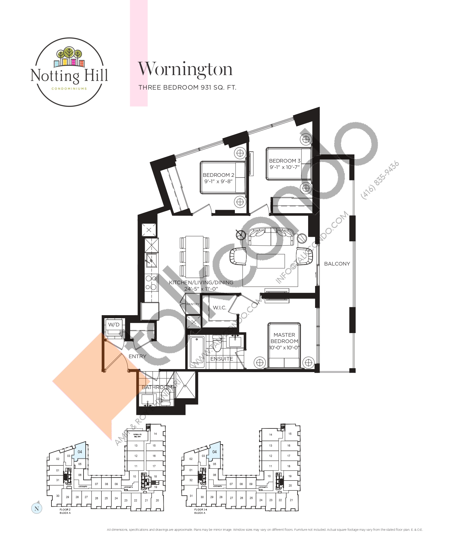 Wornington Floor Plan at Notting Hill Phase 2 Condos - 931 sq.ft