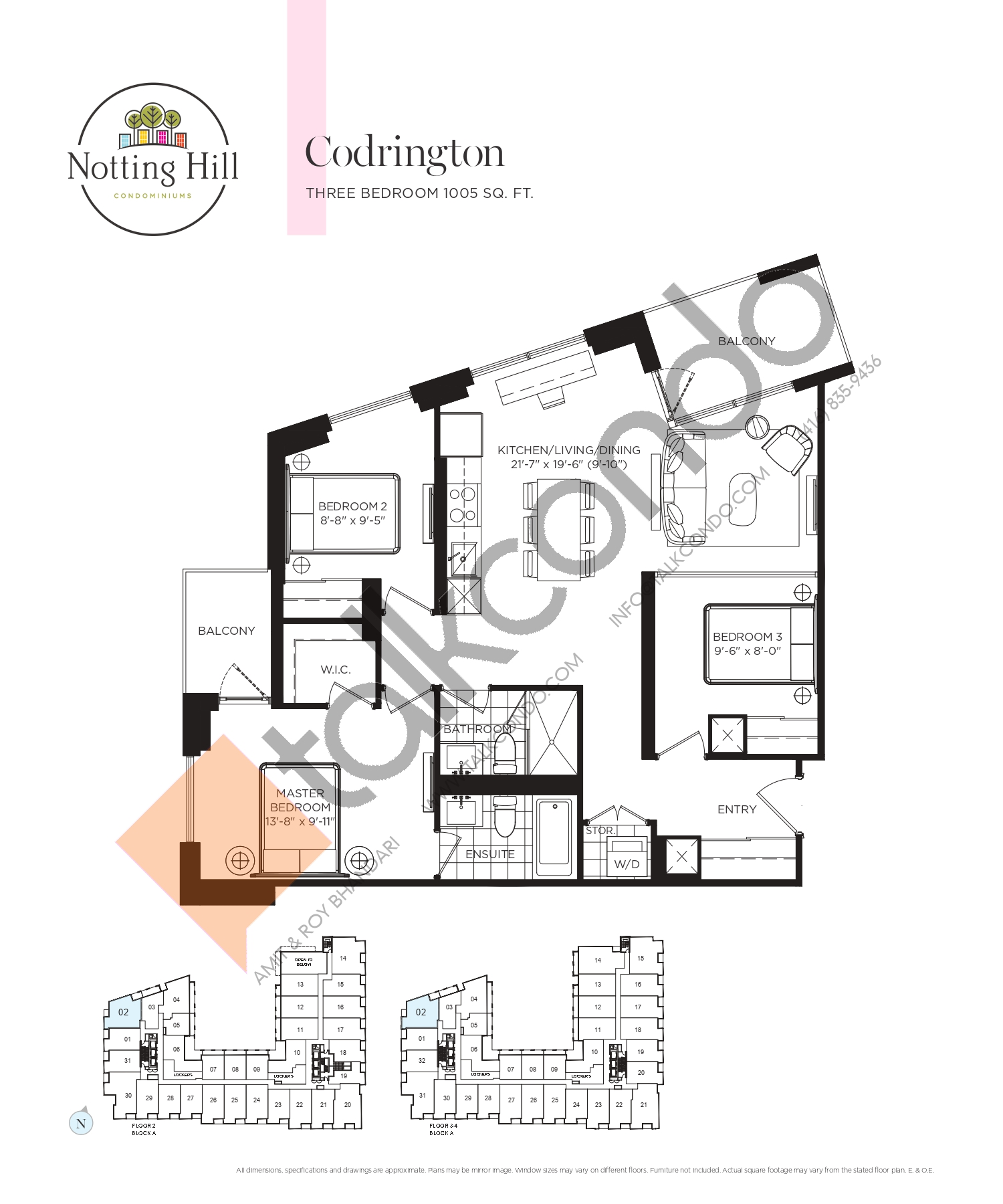 Codrington Floor Plan at Notting Hill Phase 2 Condos - 1005 sq.ft
