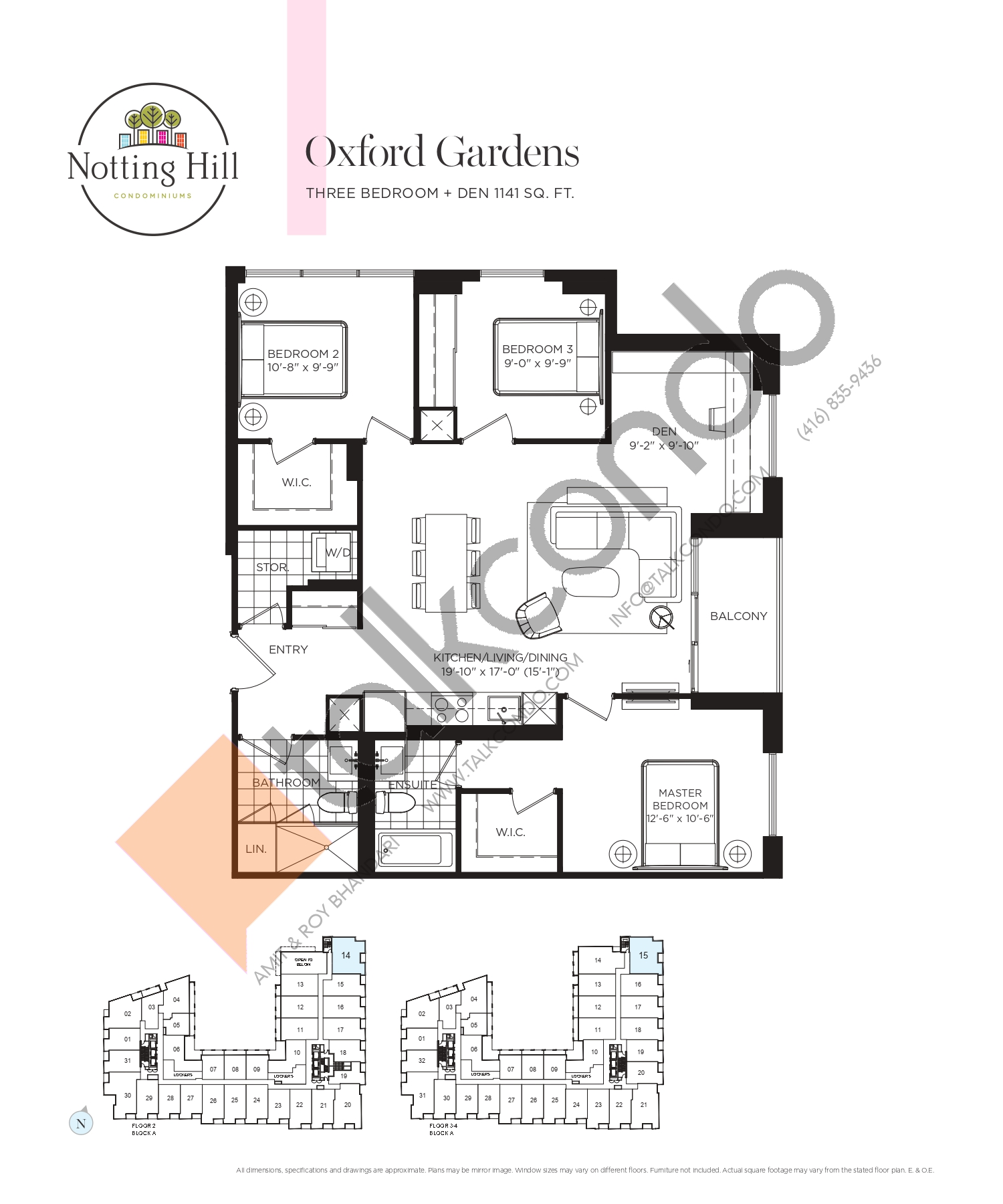 Oxford Gardens Floor Plan at Notting Hill Phase 2 Condos - 1141 sq.ft