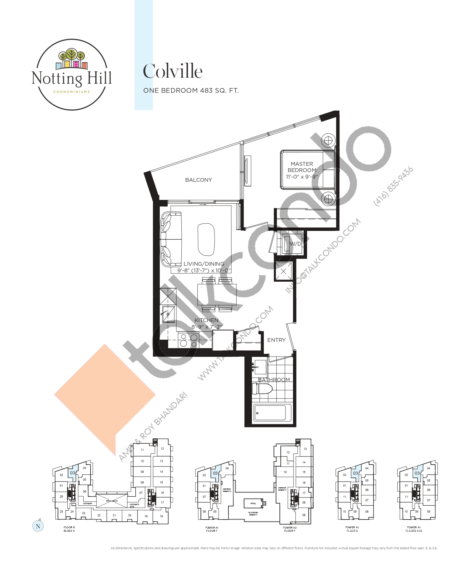 Colville Floor Plan at Notting Hill Phase 2 Condos - 483 sq.ft