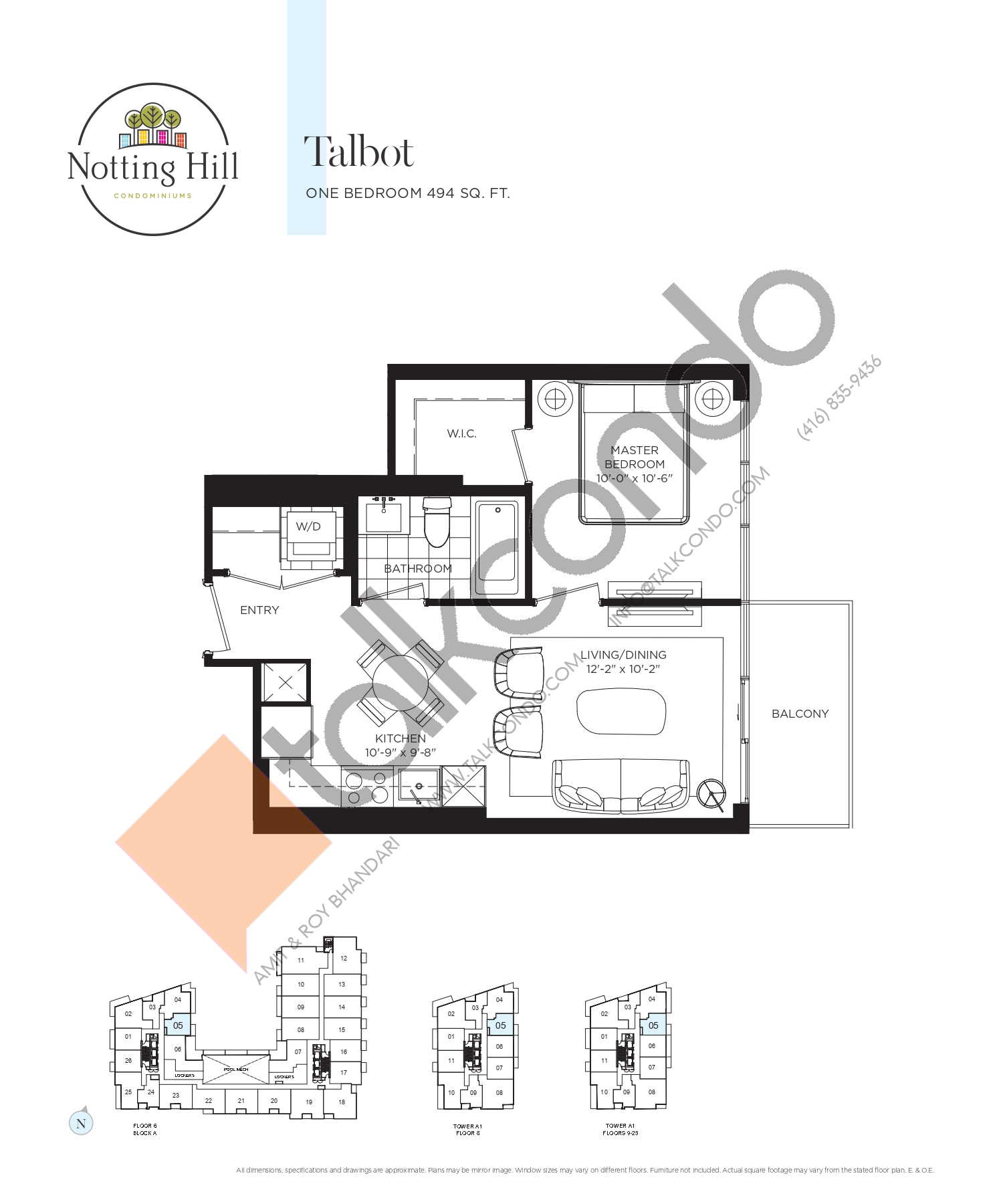 Talbot Floor Plan at Notting Hill Phase 2 Condos - 494 sq.ft