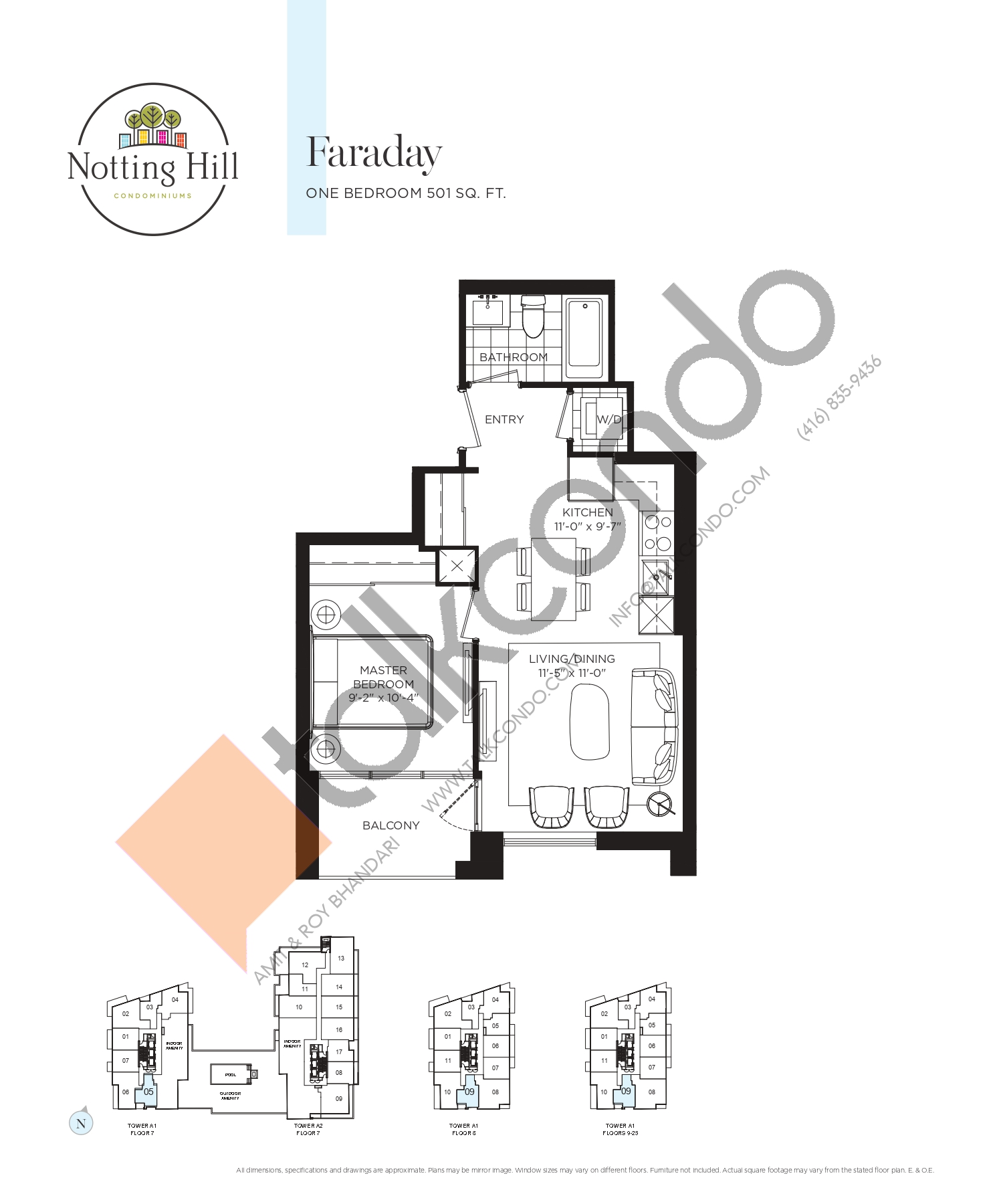 Faraday Floor Plan at Notting Hill Phase 2 Condos - 501 sq.ft