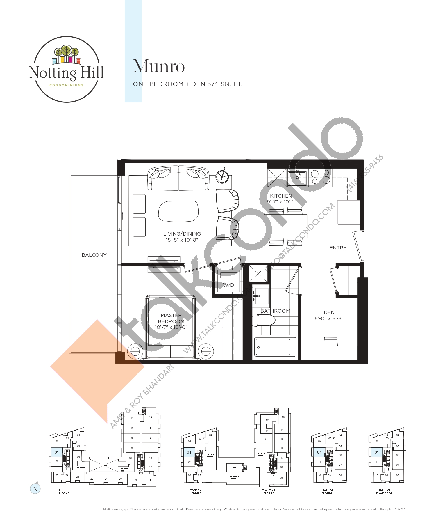 Munro Floor Plan at Notting Hill Phase 2 Condos - 574 sq.ft