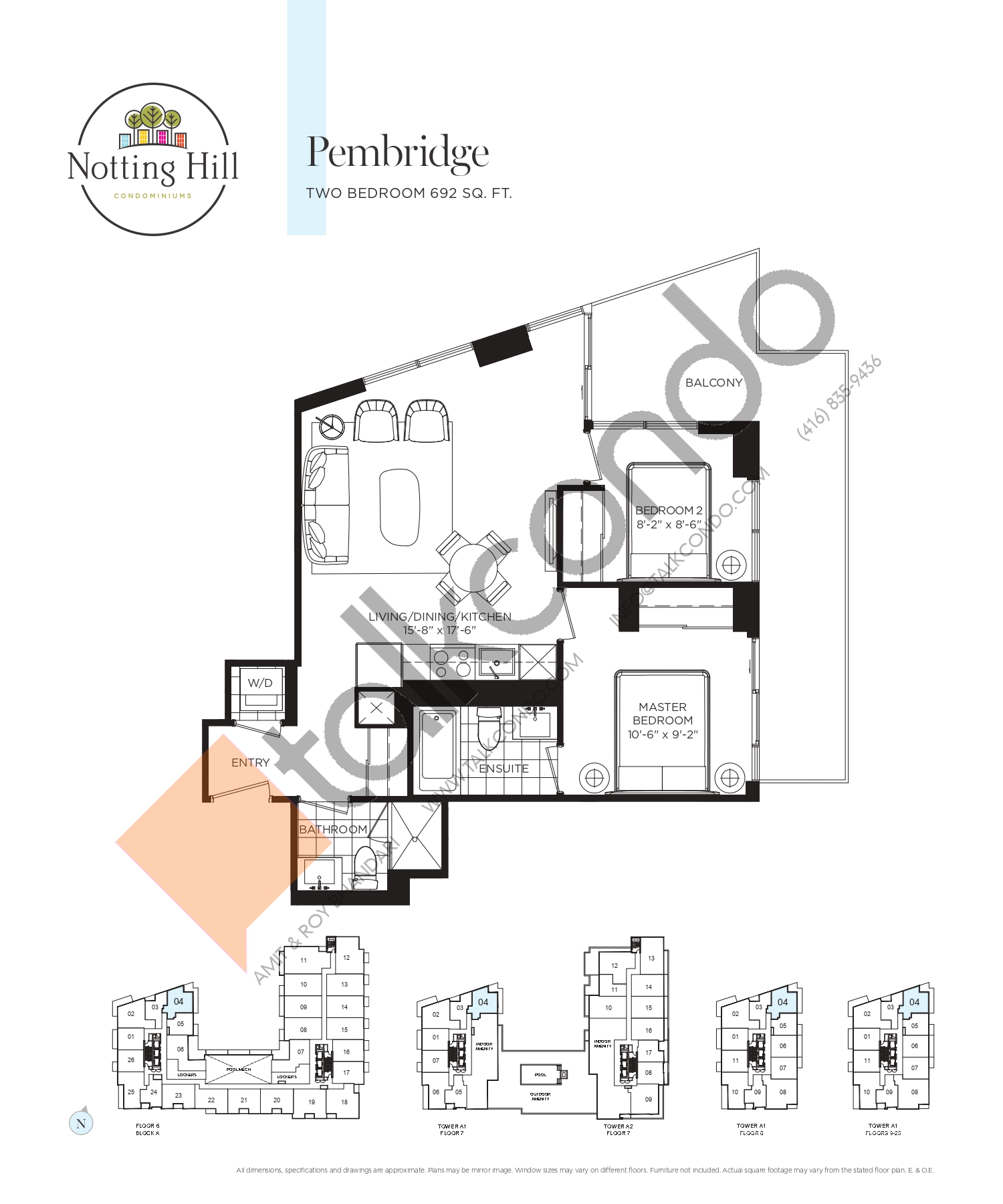 Pembridge Floor Plan at Notting Hill Phase 2 Condos - 692 sq.ft