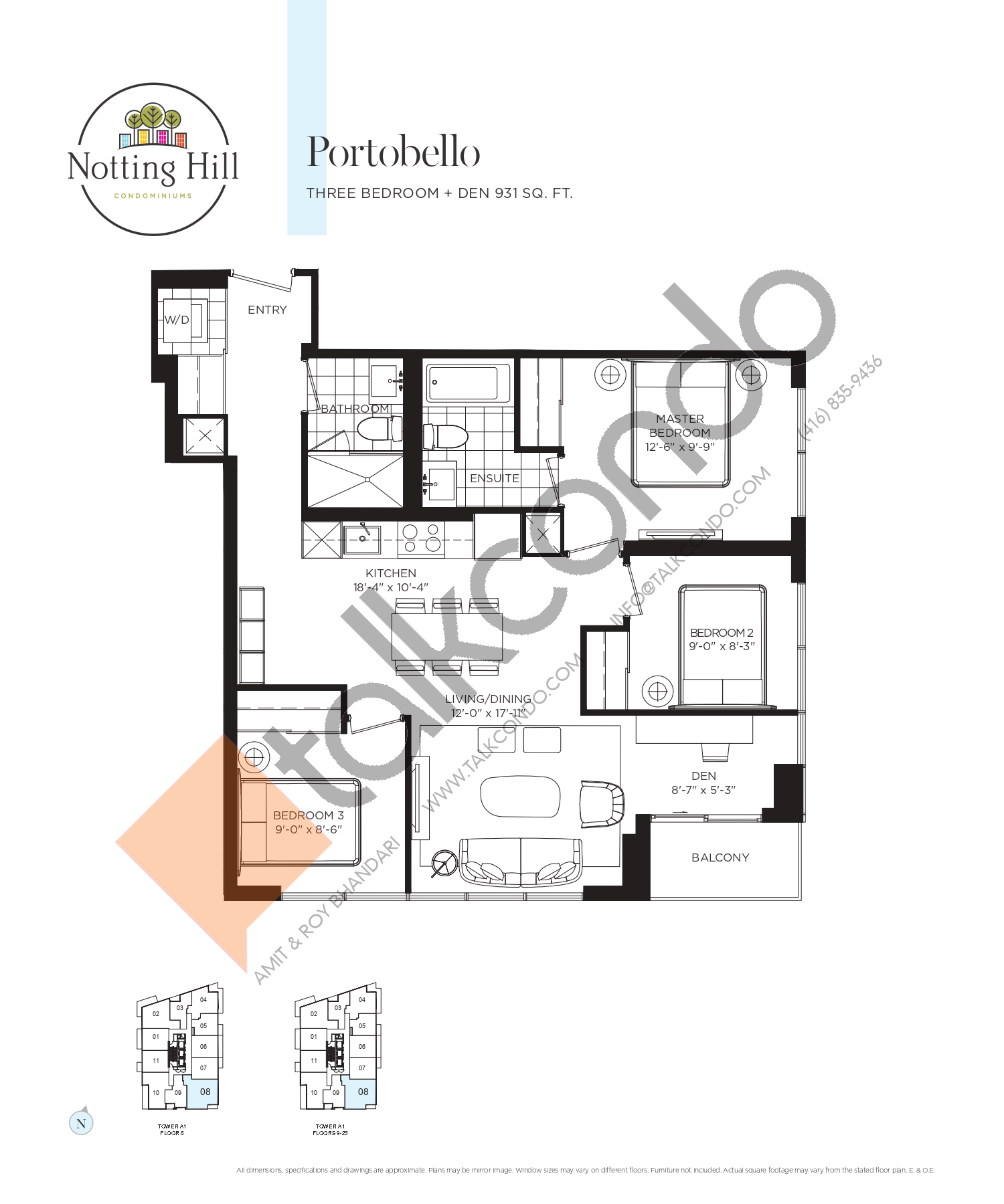 Portobello Floor Plan at Notting Hill Phase 2 Condos - 931 sq.ft