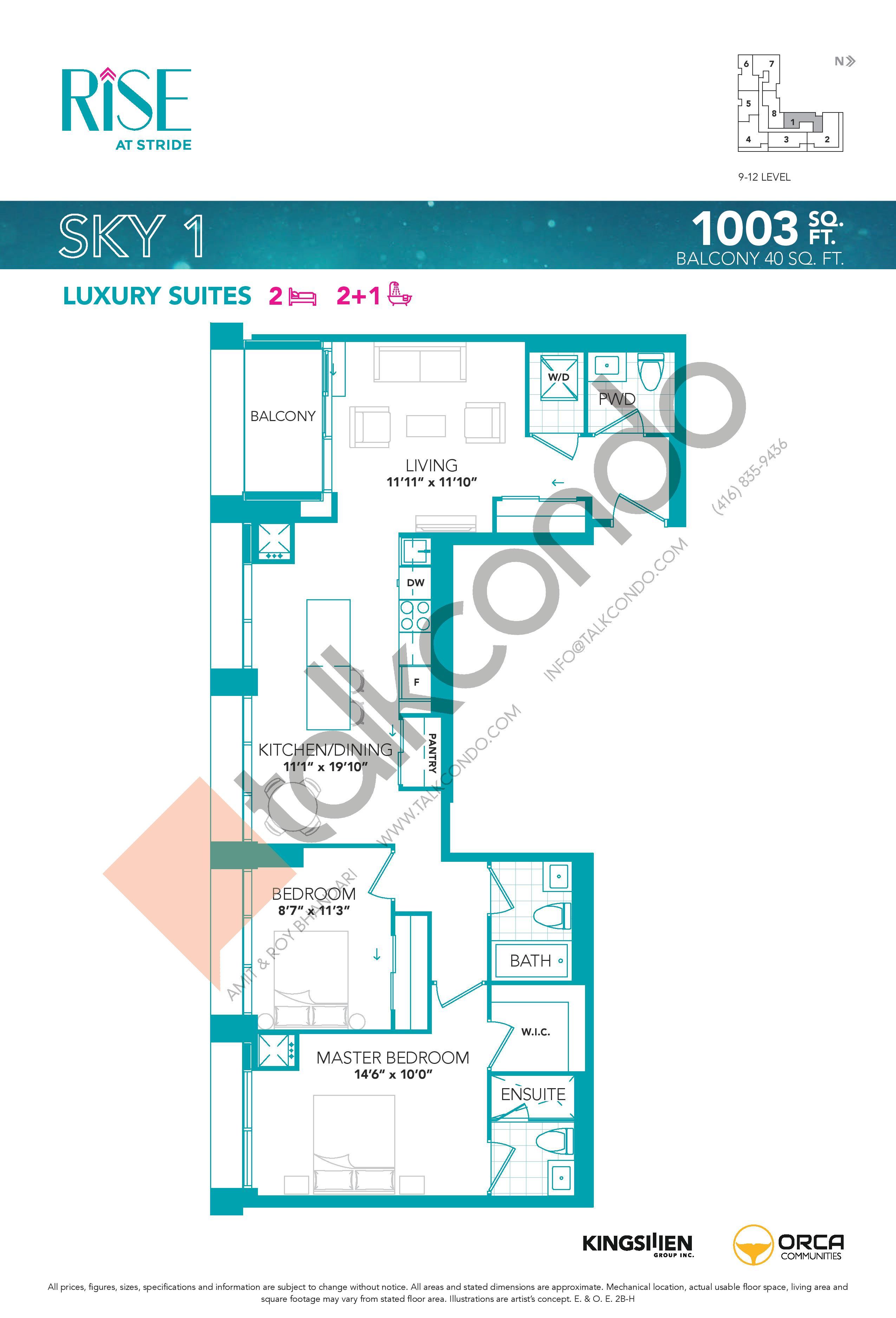 Sky 1 Floor Plan at Rise at Stride Condos - 1003 sq.ft
