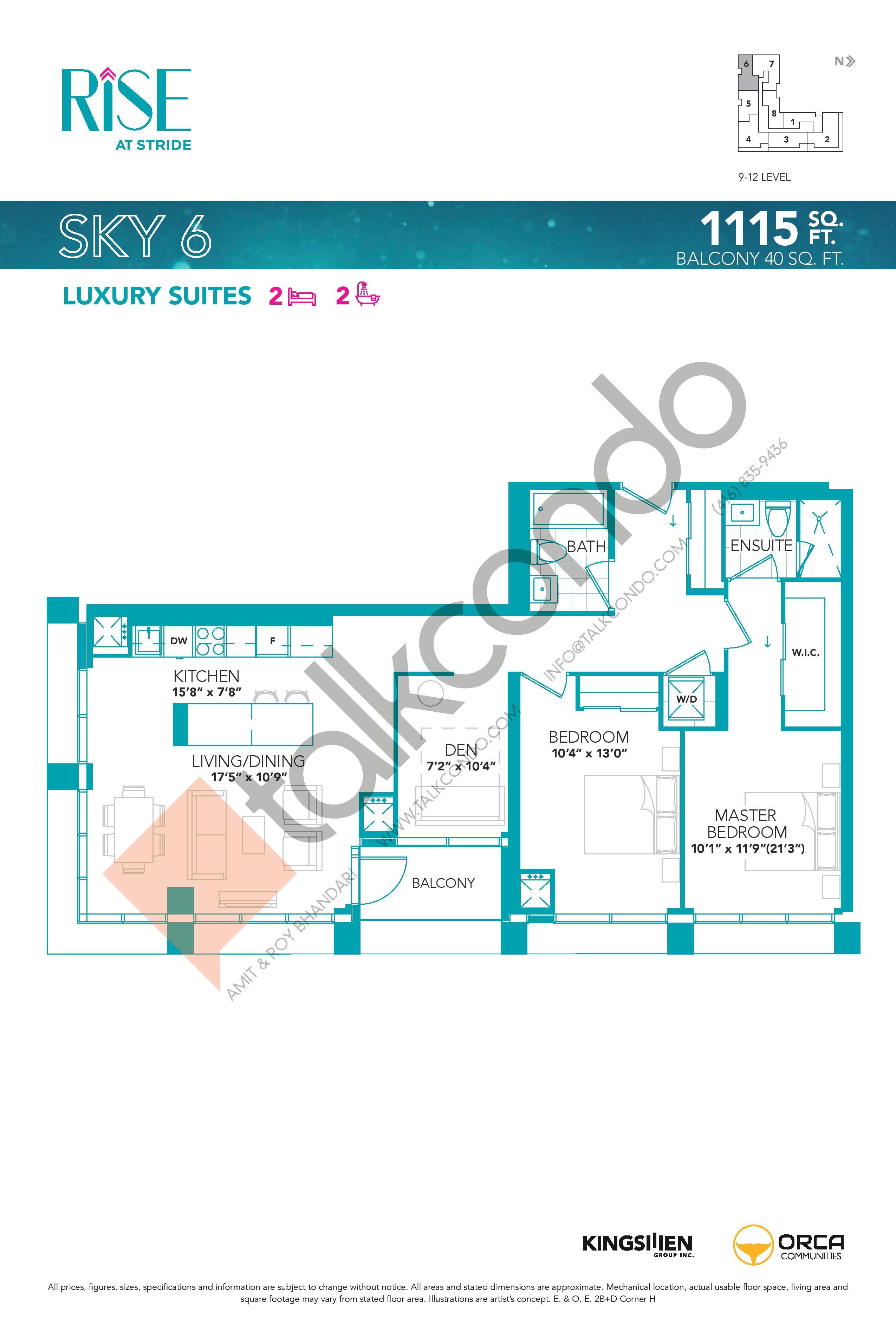 Sky 6 Floor Plan at Rise at Stride Condos - 1115 sq.ft