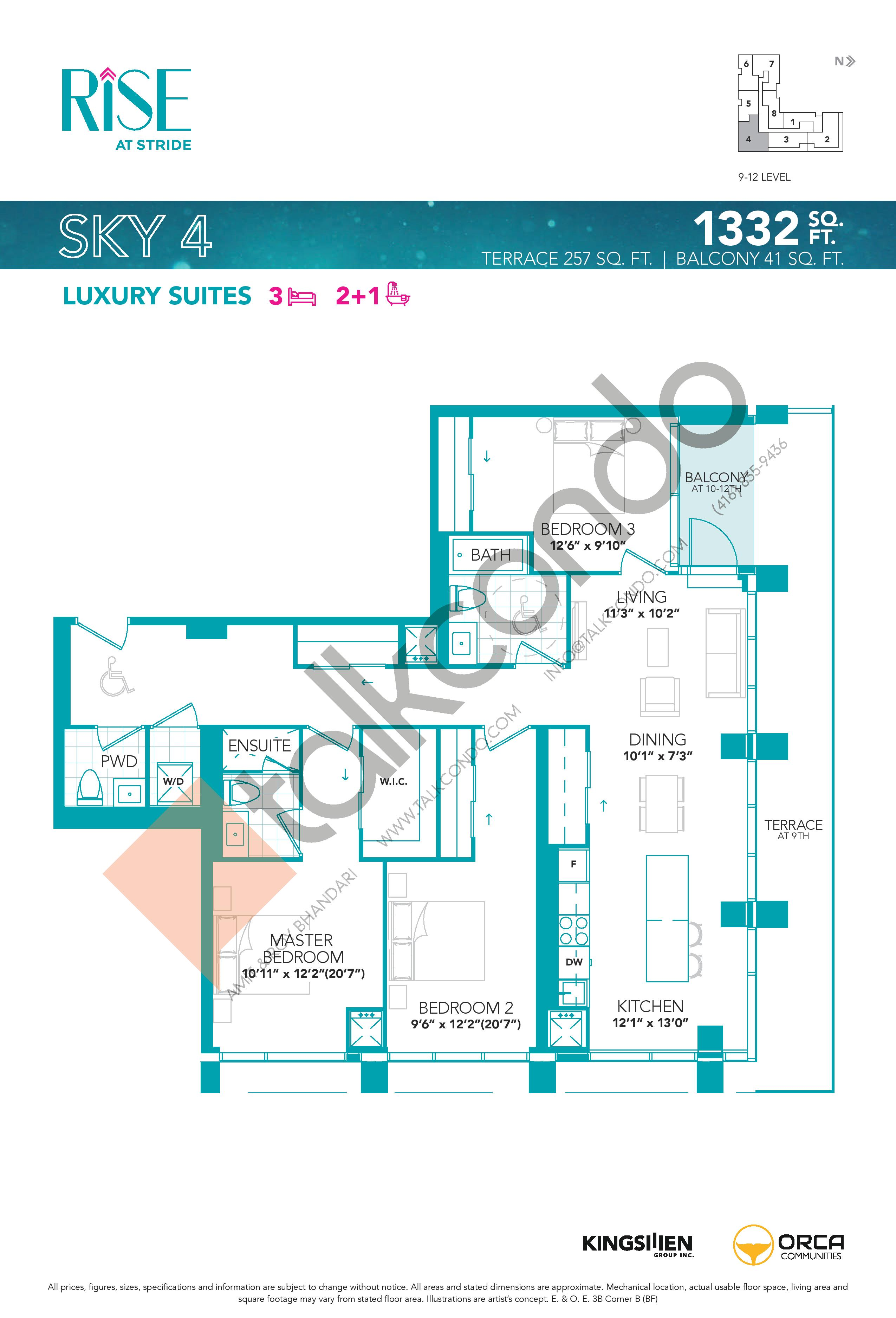 Sky 4 Floor Plan at Rise at Stride Condos - 1332 sq.ft
