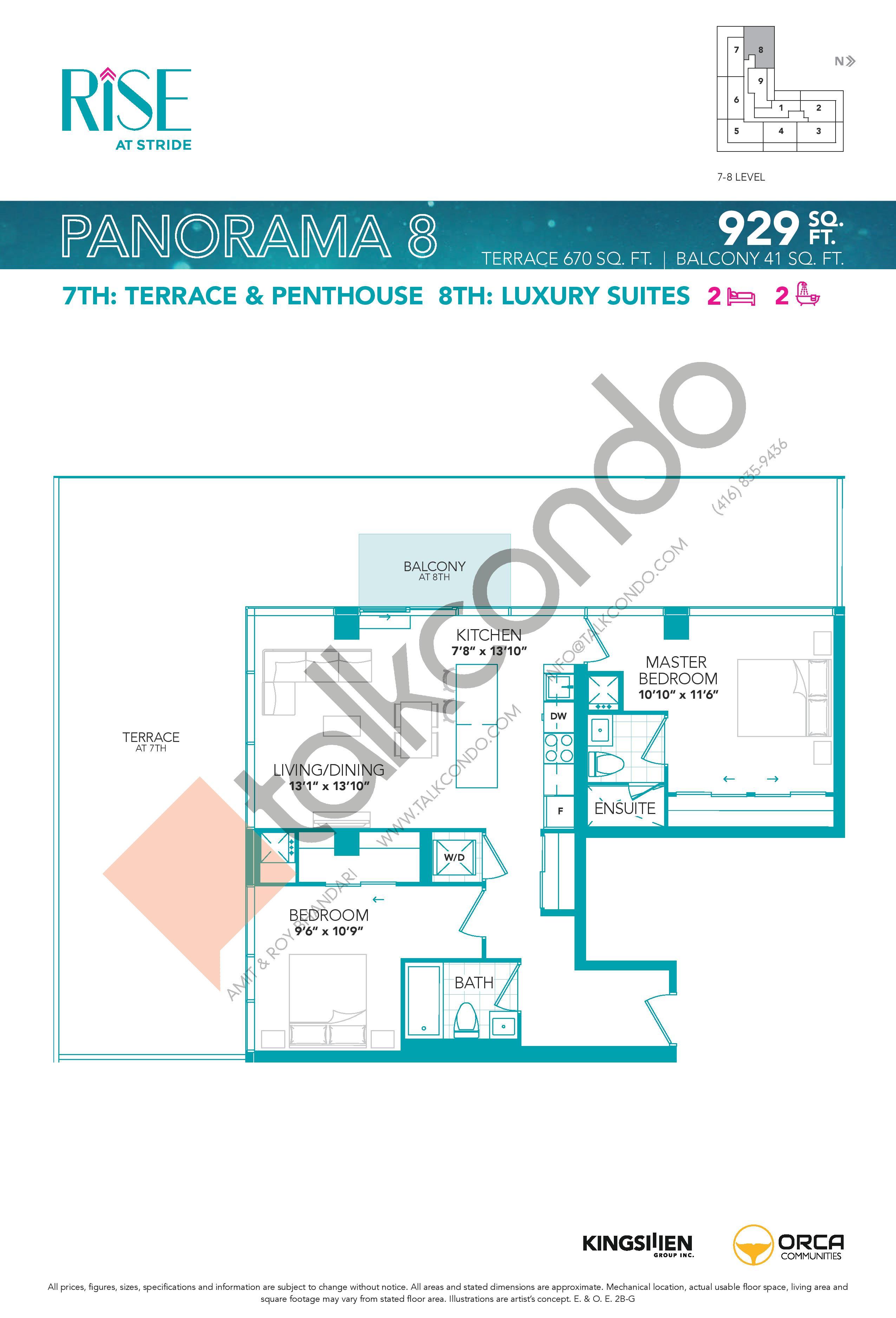 Panorama 8 Floor Plan at Rise at Stride Condos - 929 sq.ft