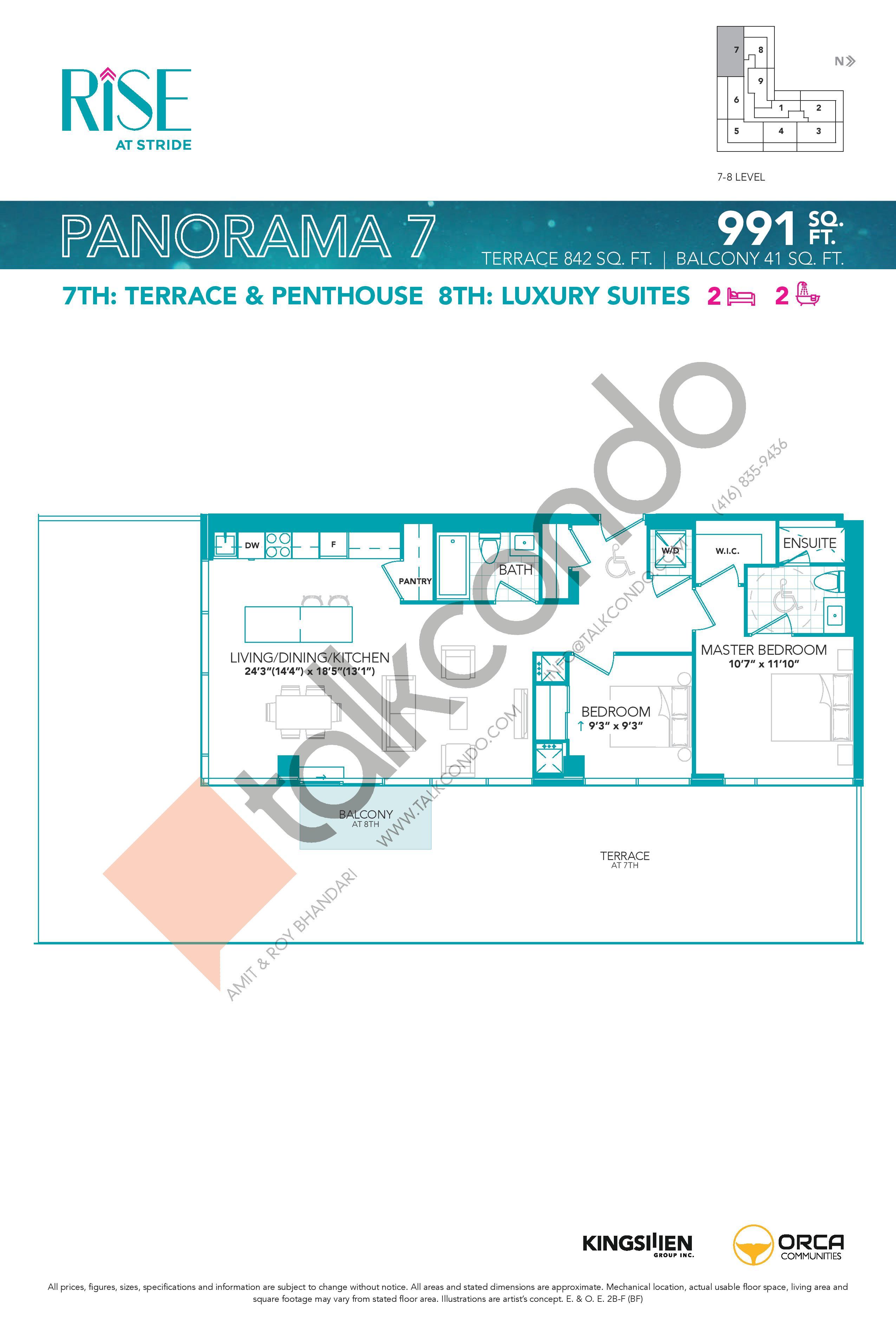 Panorama 7 Floor Plan at Rise at Stride Condos - 991 sq.ft