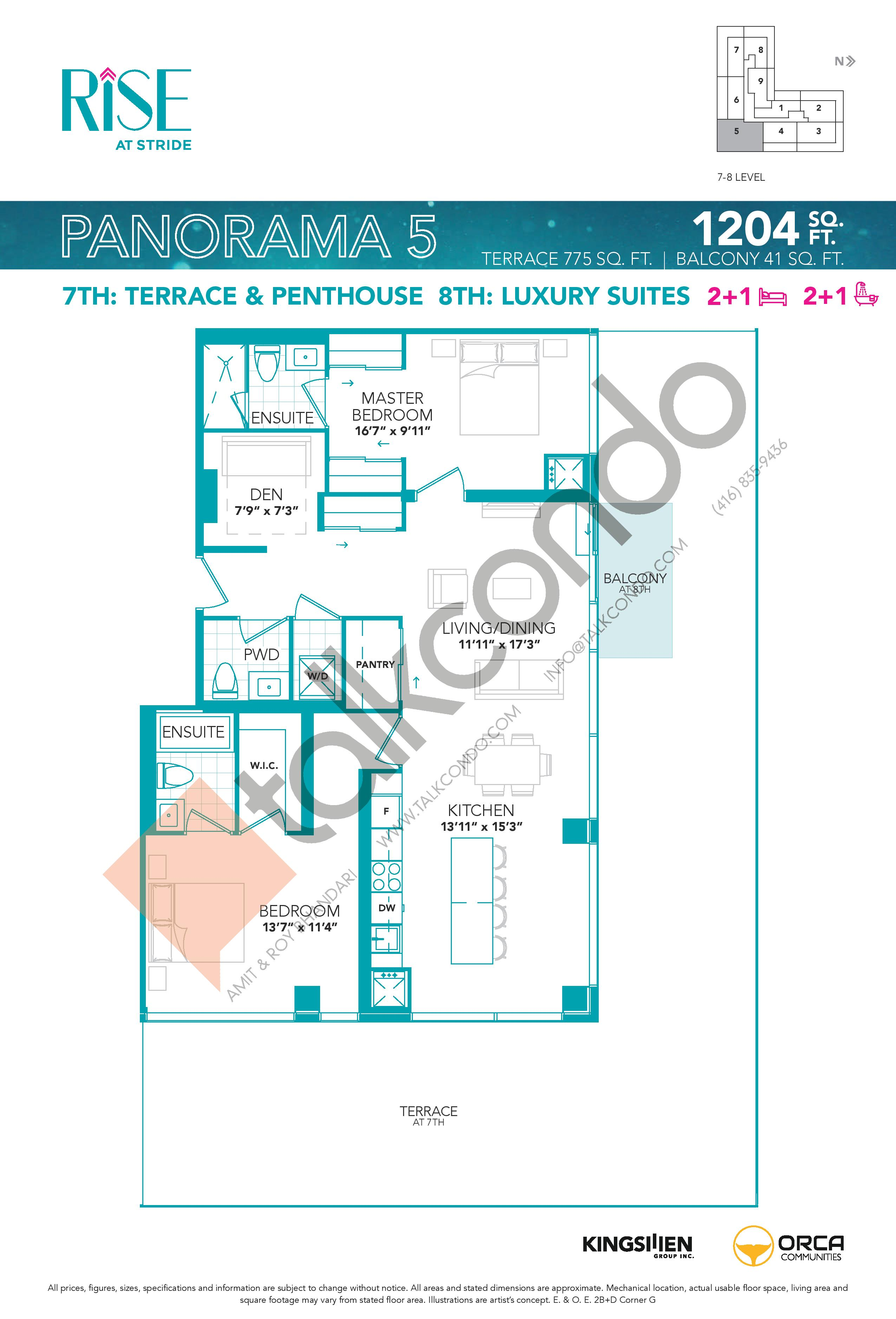 Panorama 5 Floor Plan at Rise at Stride Condos - 1204 sq.ft