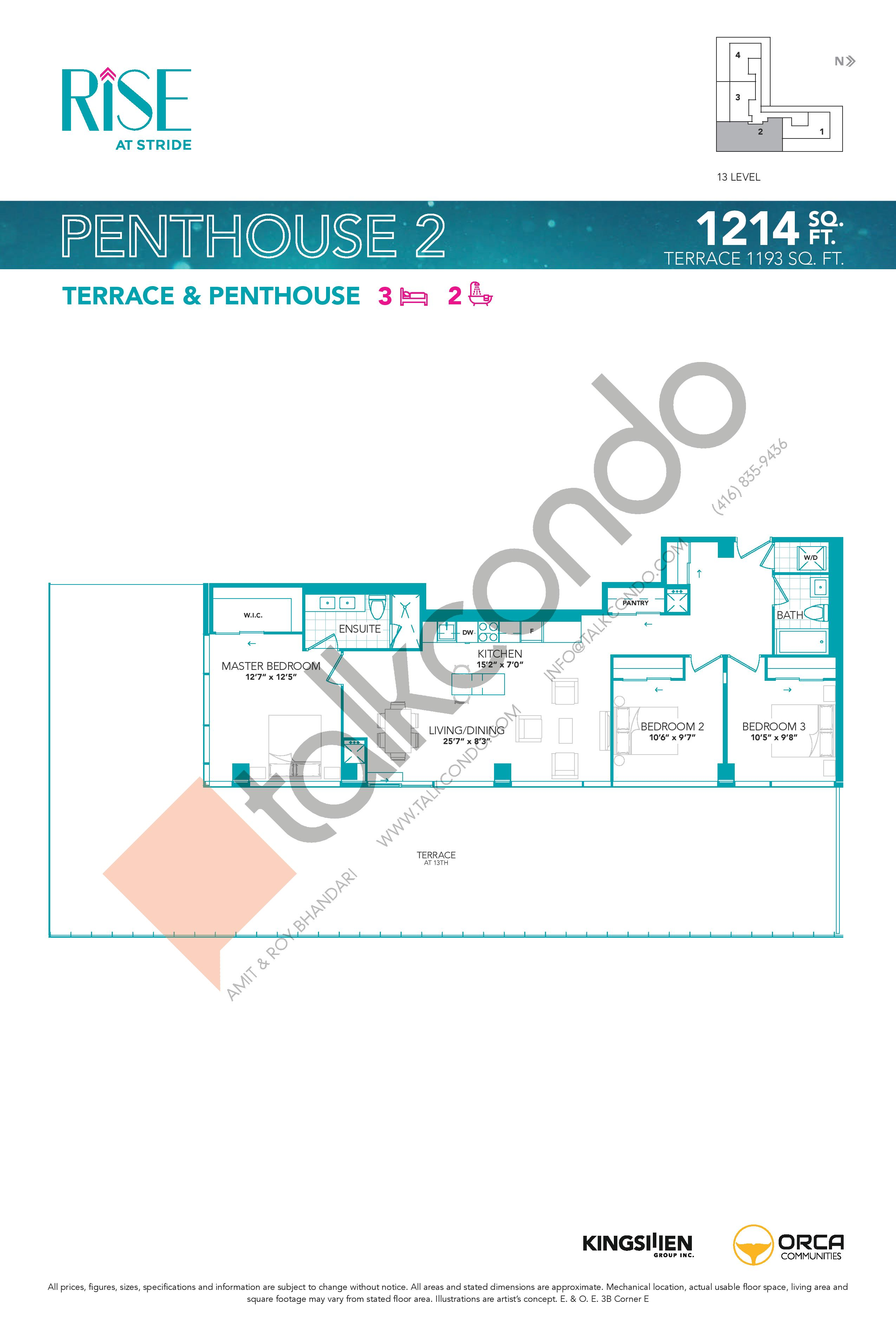 Penthouse 2 Floor Plan at Rise at Stride Condos - 1214 sq.ft