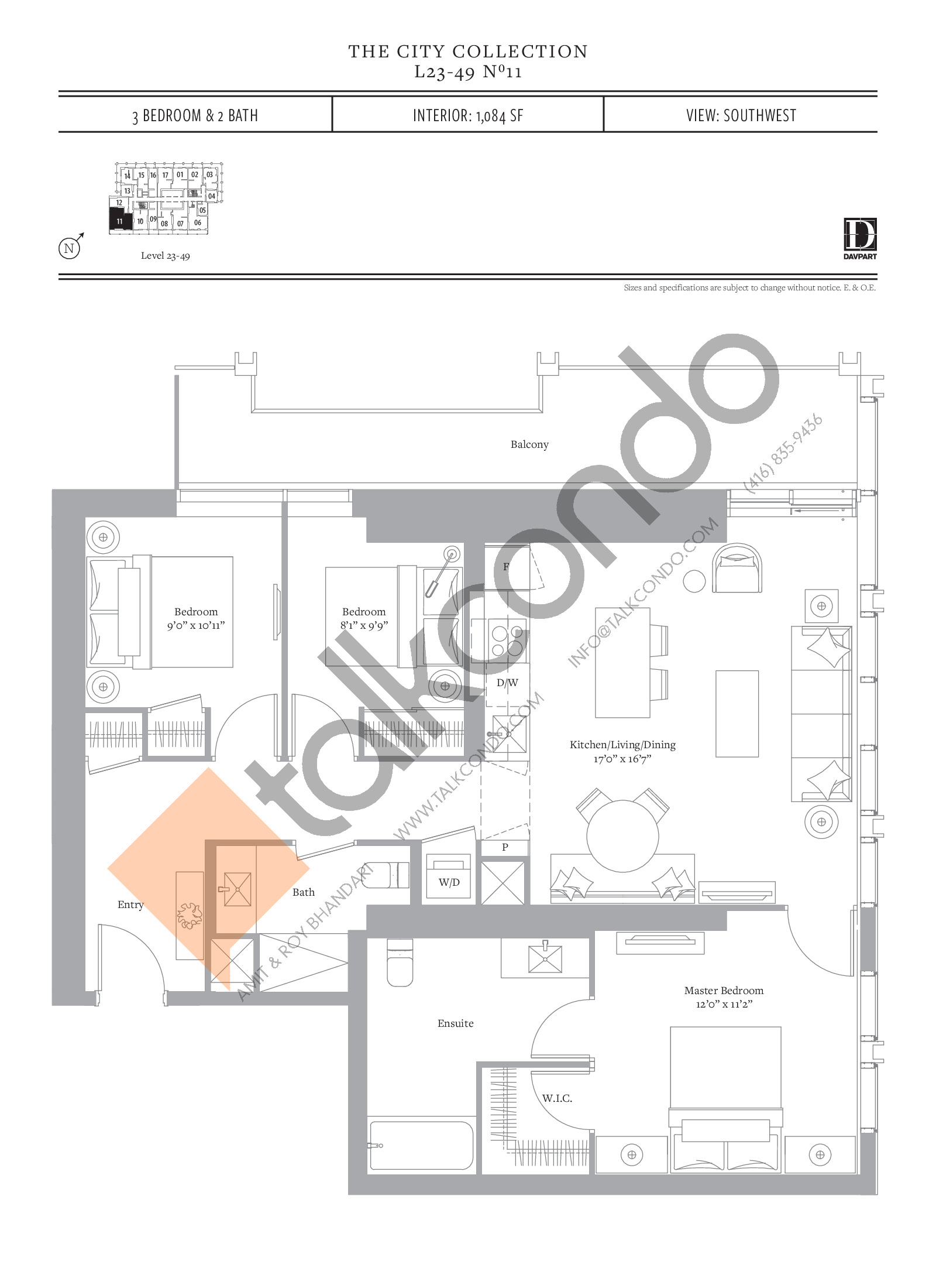 No 11 - The City Collection Floor Plan at The United Bldg. Condos - 1084 sq.ft