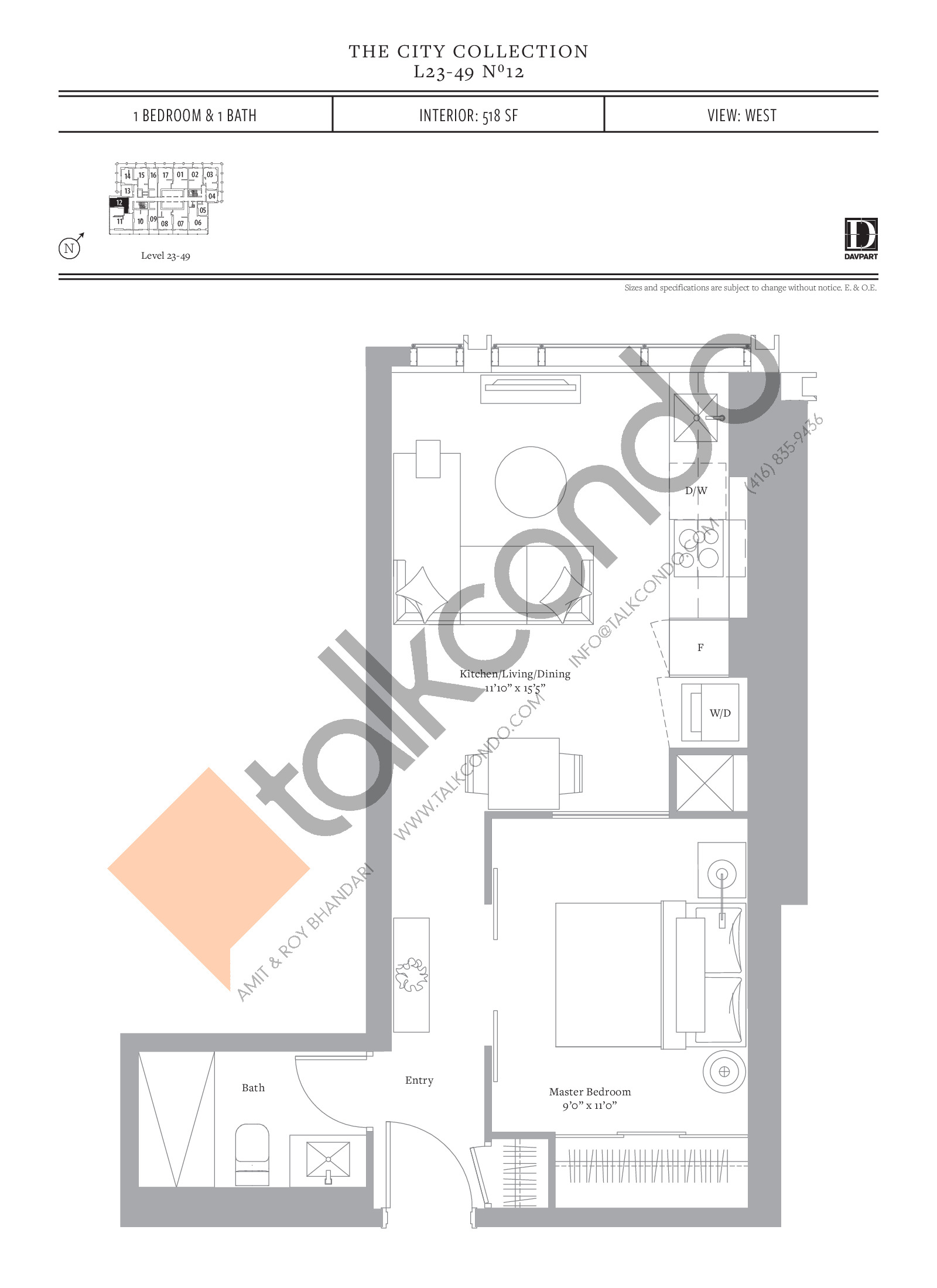 No 12 Floor Plan at The United Bldg. Condos - 518 sq.ft