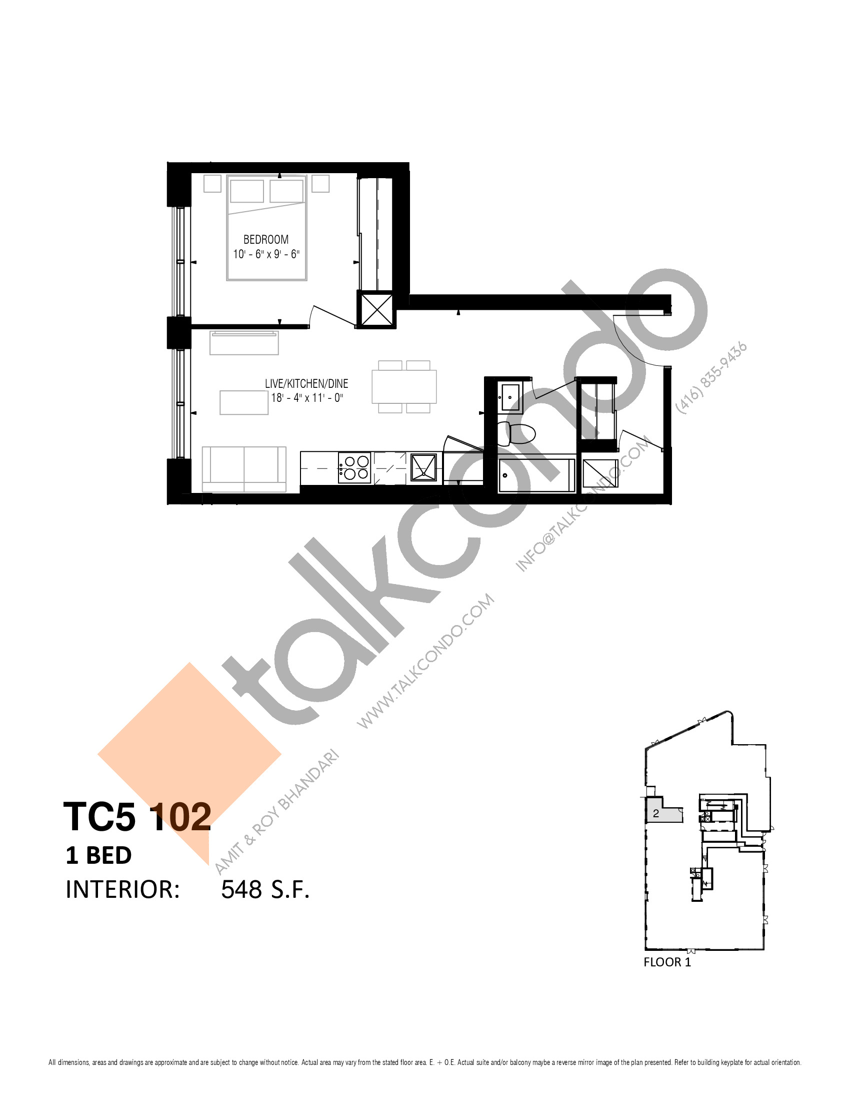 TC5 102 Floor Plan at Transit City 5 (TC5) Condos - 548 sq.ft