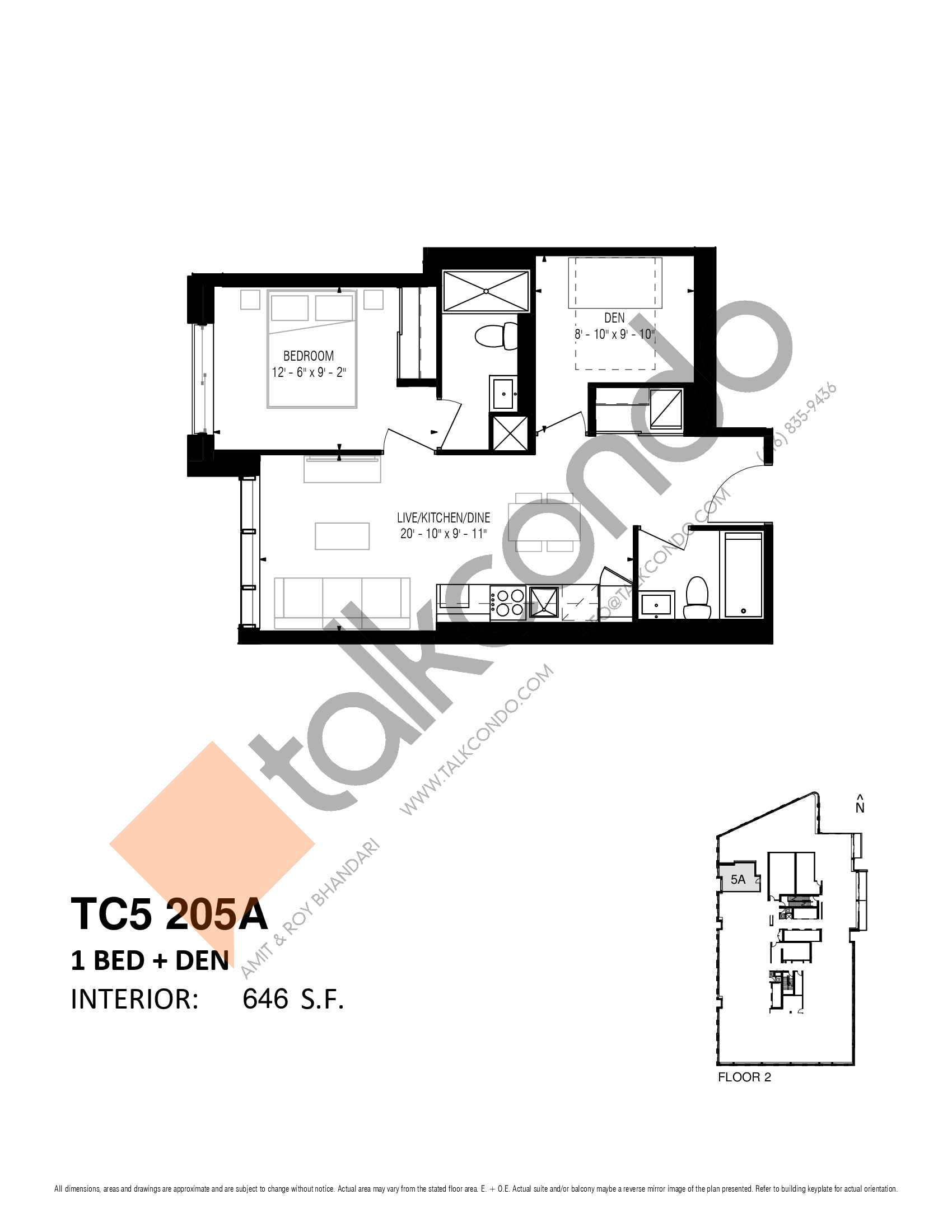 TC5 205A Floor Plan at Transit City 5 (TC5) Condos - 646 sq.ft