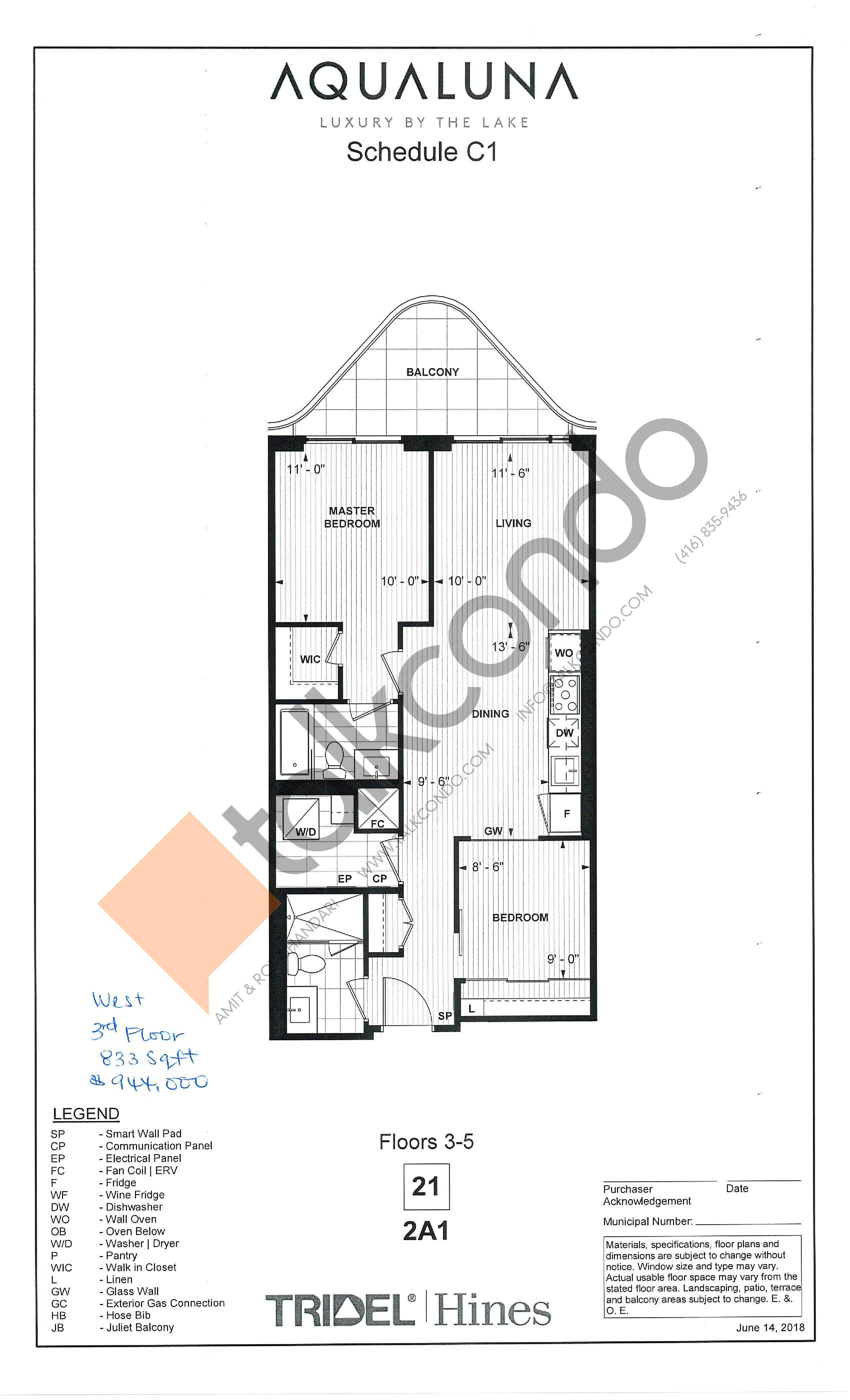 2A1 Floor Plan at Aqualuna at Bayside Condos - 833 sq.ft