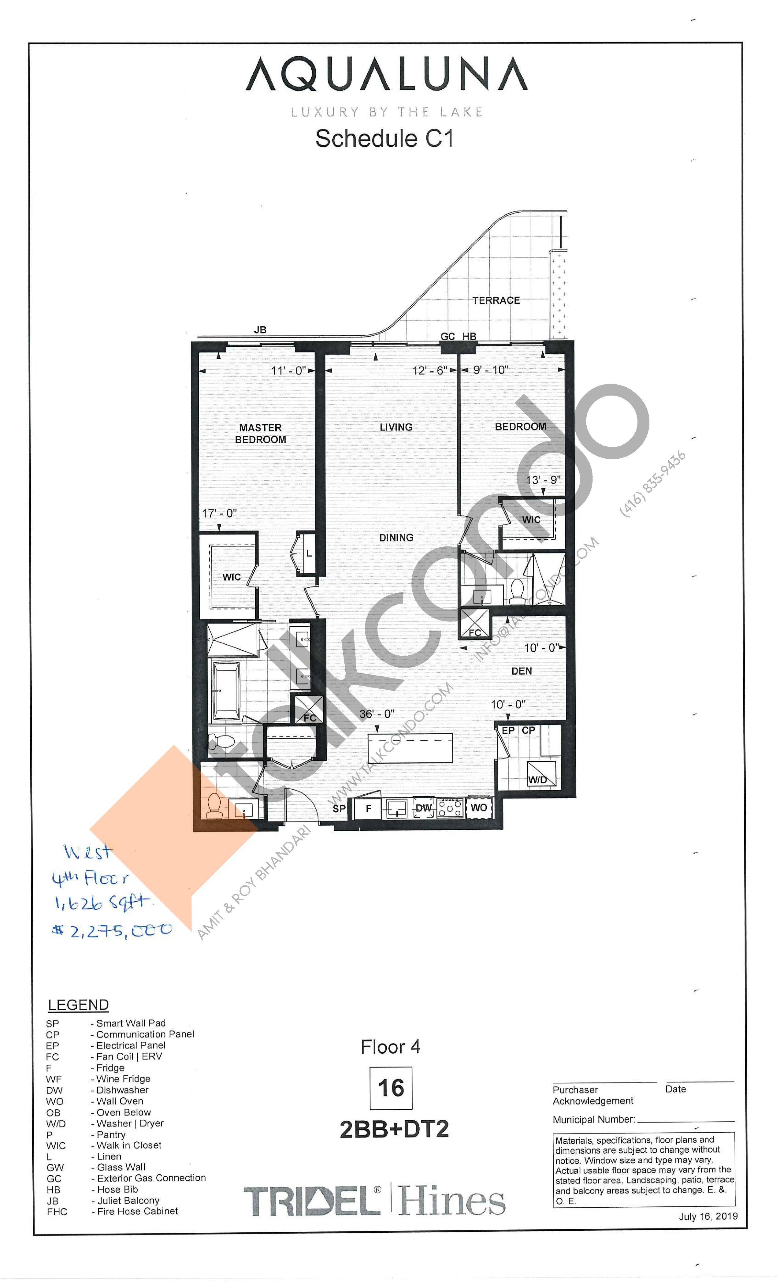 2BB+DT2 Floor Plan at Aqualuna at Bayside Condos - 1626 sq.ft
