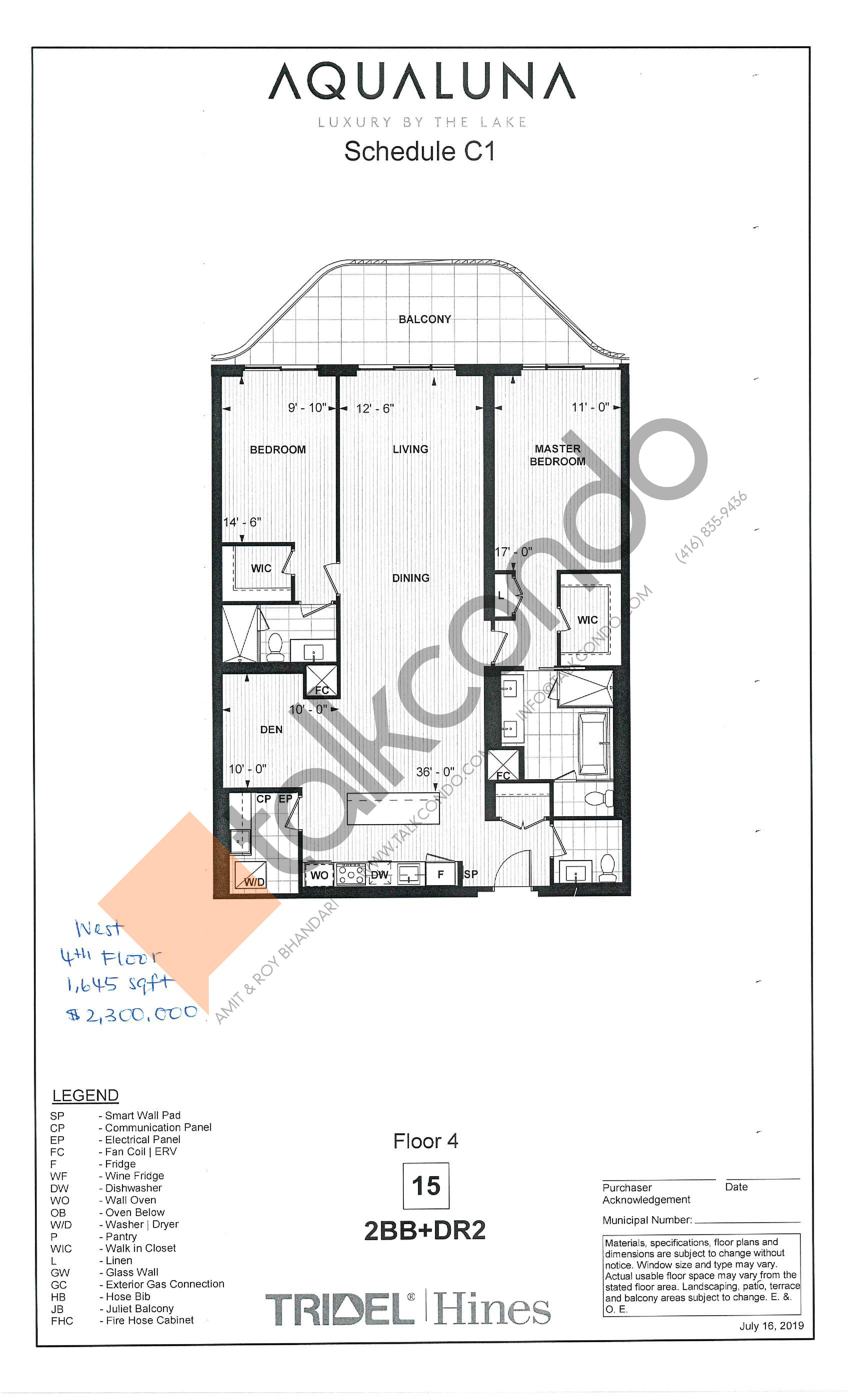 2BB+DR2 Floor Plan at Aqualuna at Bayside Condos - 1645 sq.ft