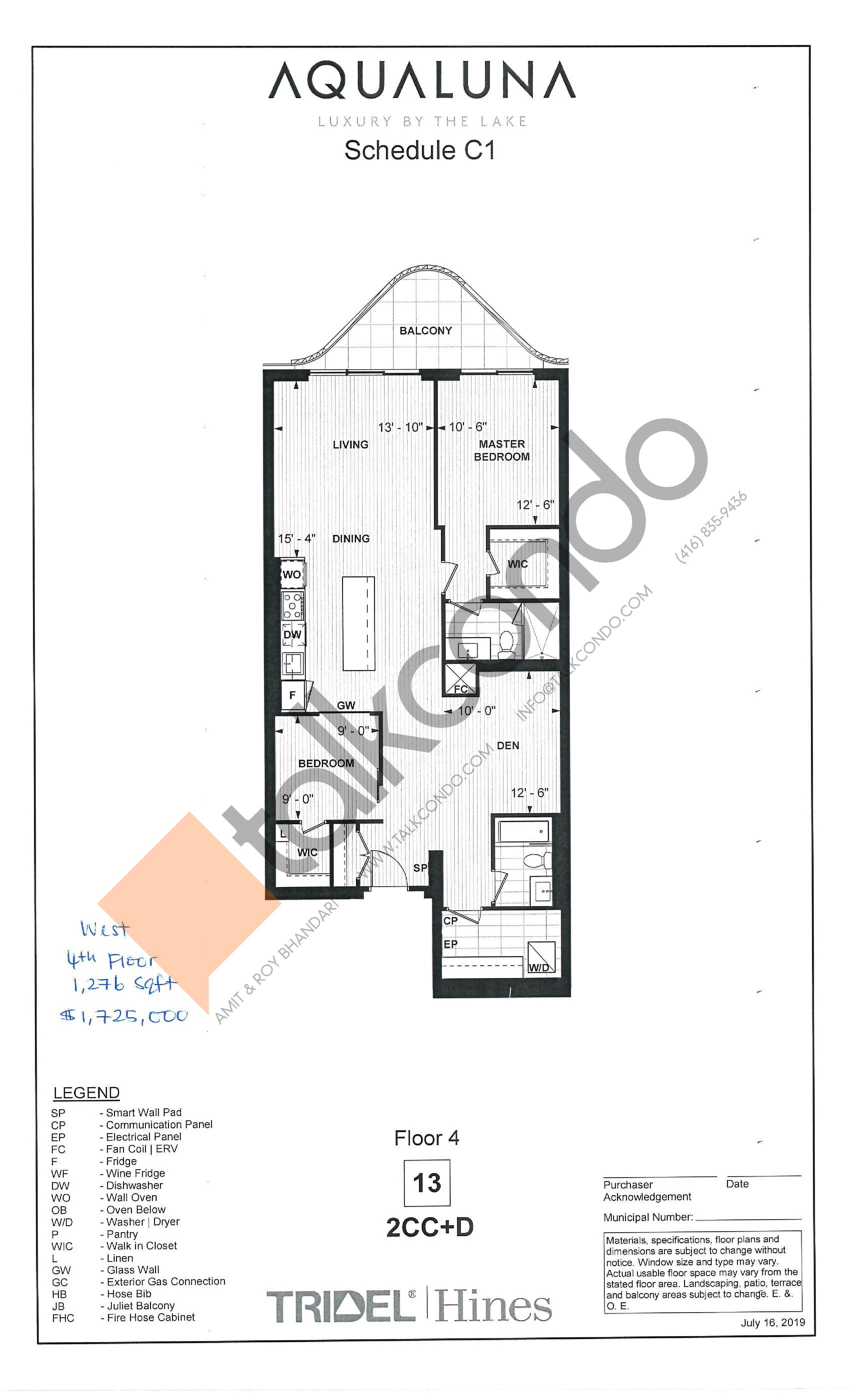 2CC+D Floor Plan at Aqualuna at Bayside Condos - 1276 sq.ft