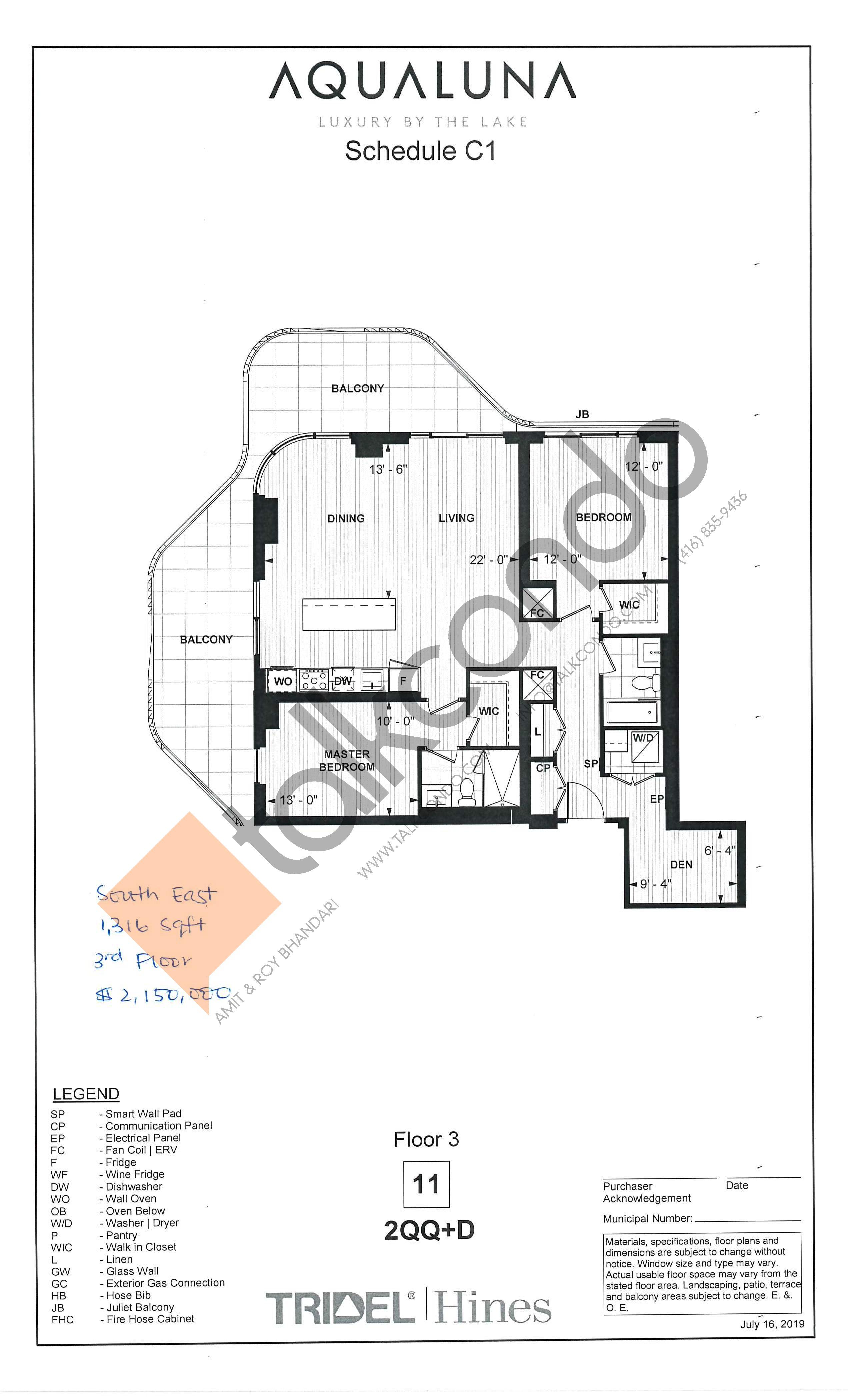 2QQ+D Floor Plan at Aqualuna at Bayside Condos - 1316 sq.ft