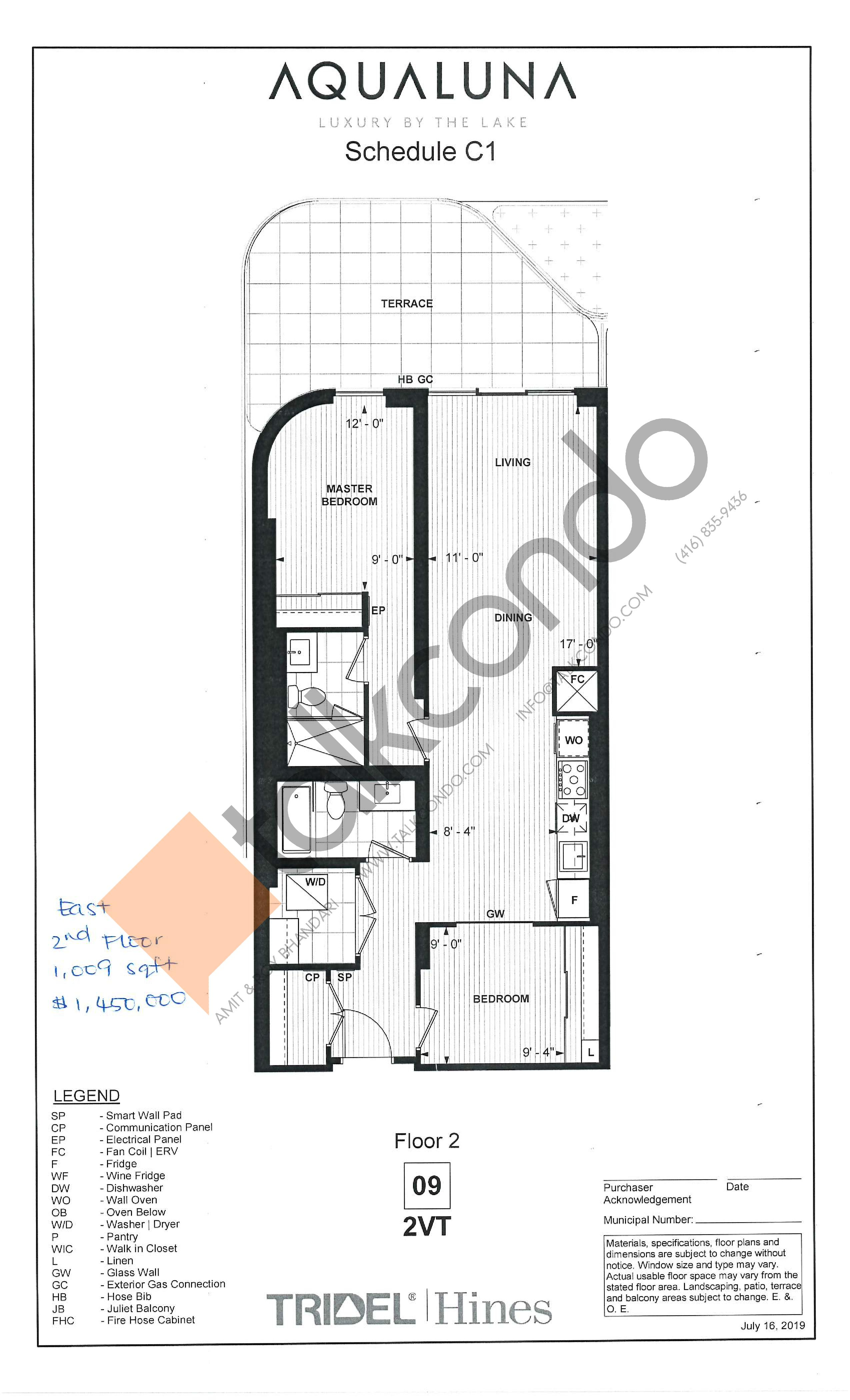 2VT Floor Plan at Aqualuna at Bayside Condos - 1009 sq.ft