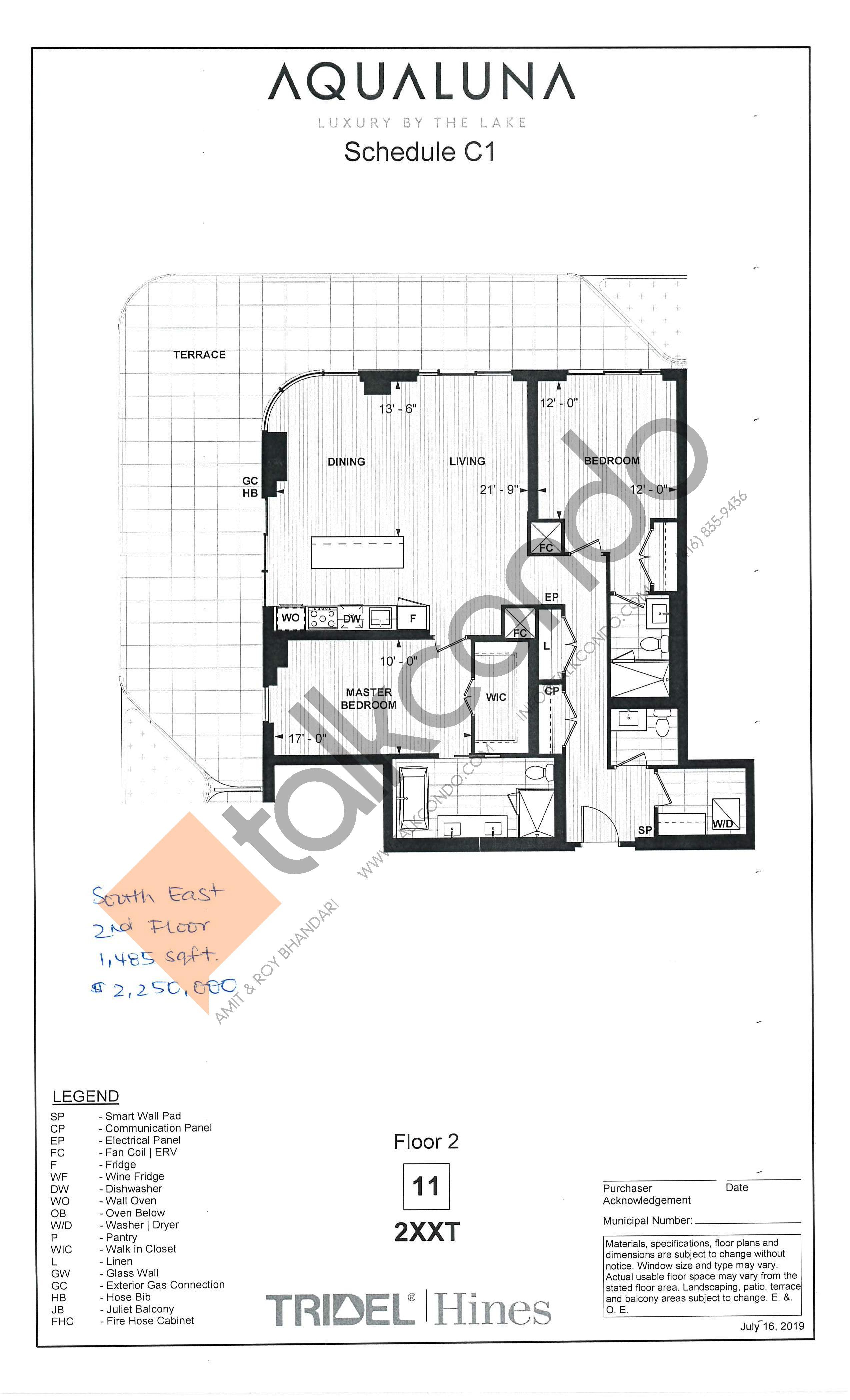 2XXT Floor Plan at Aqualuna at Bayside Condos - 1485 sq.ft