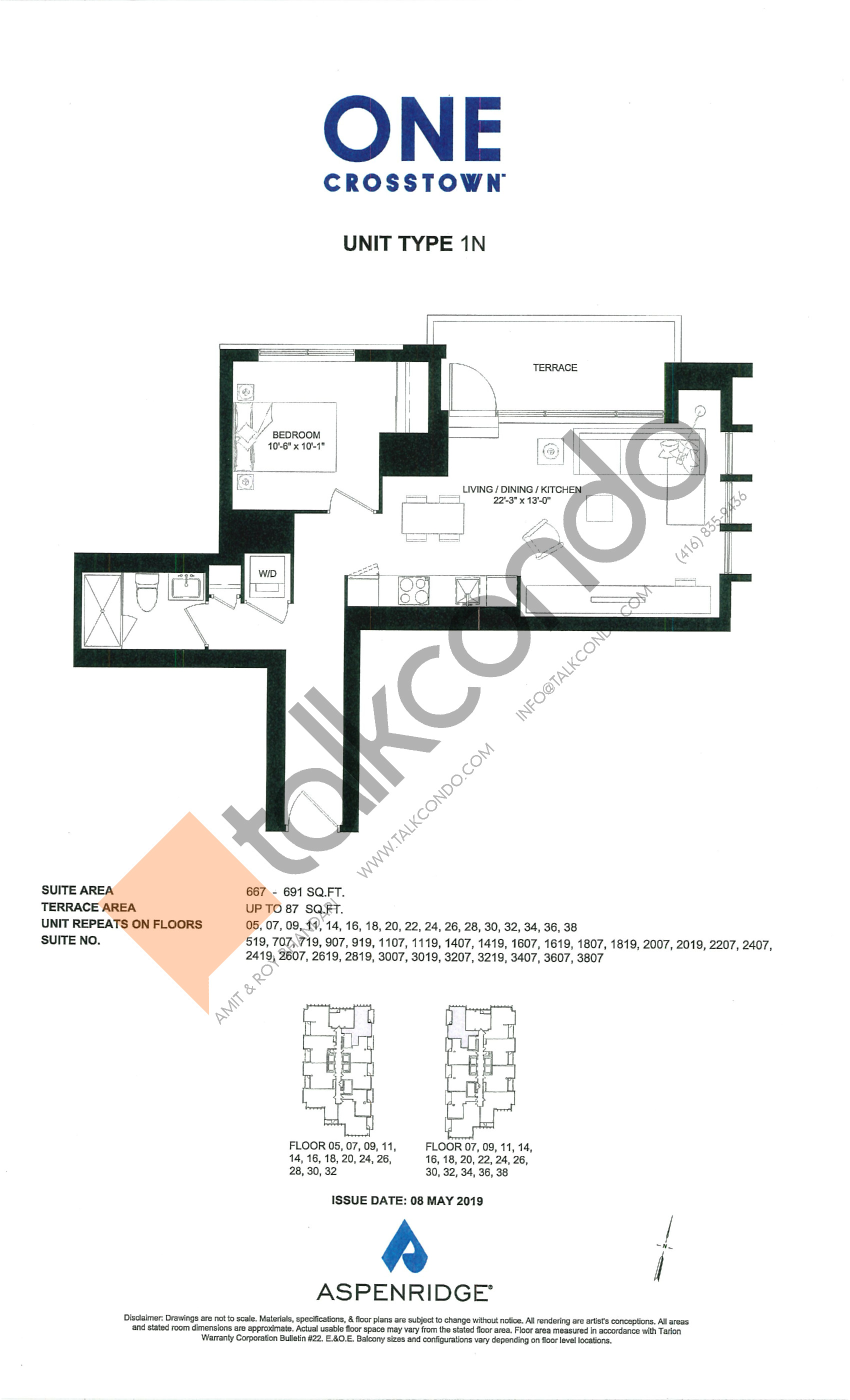 1N Floor Plan at One Crosstown Condos - 691 sq.ft