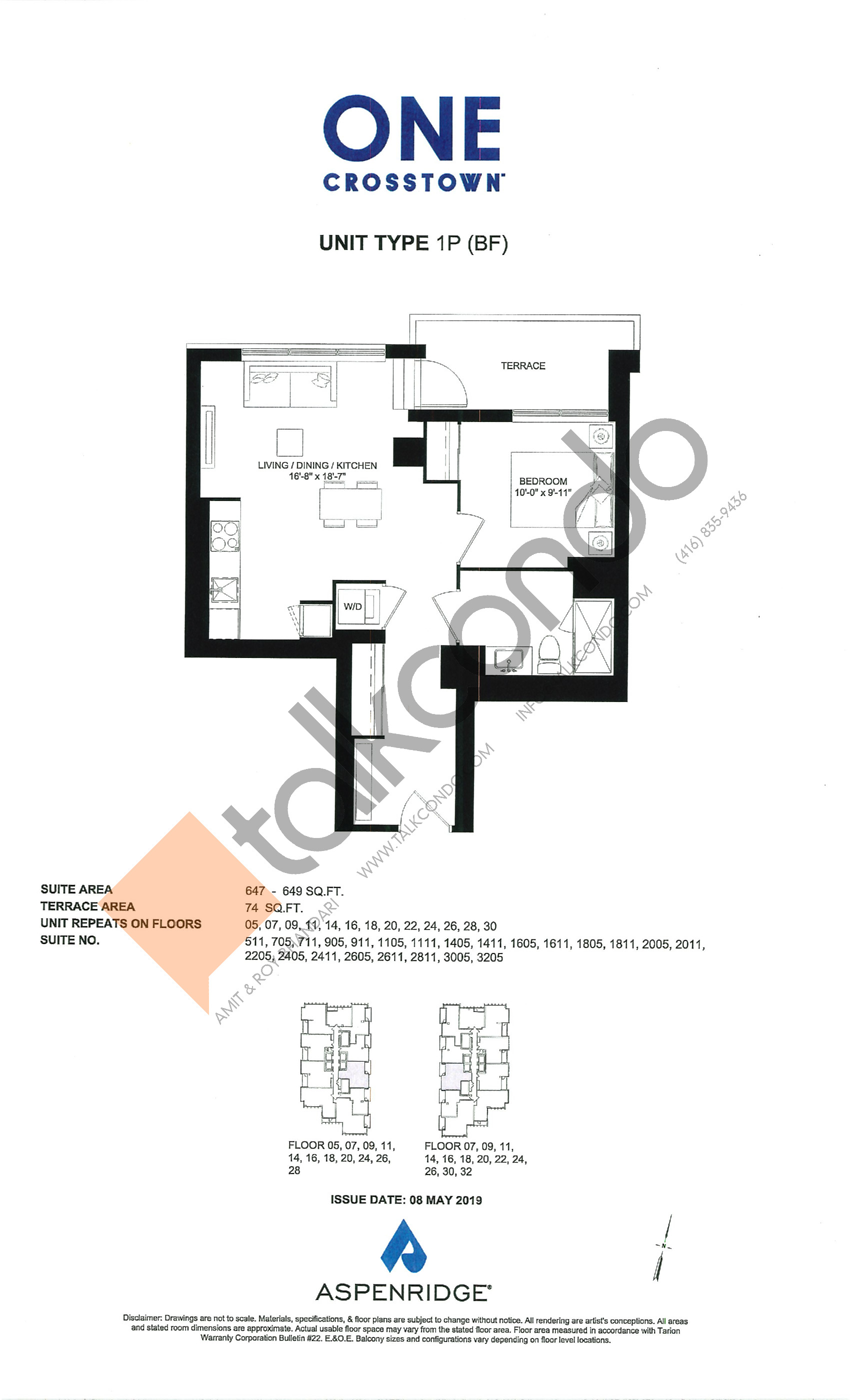 1P (BF) Floor Plan at One Crosstown Condos - 649 sq.ft