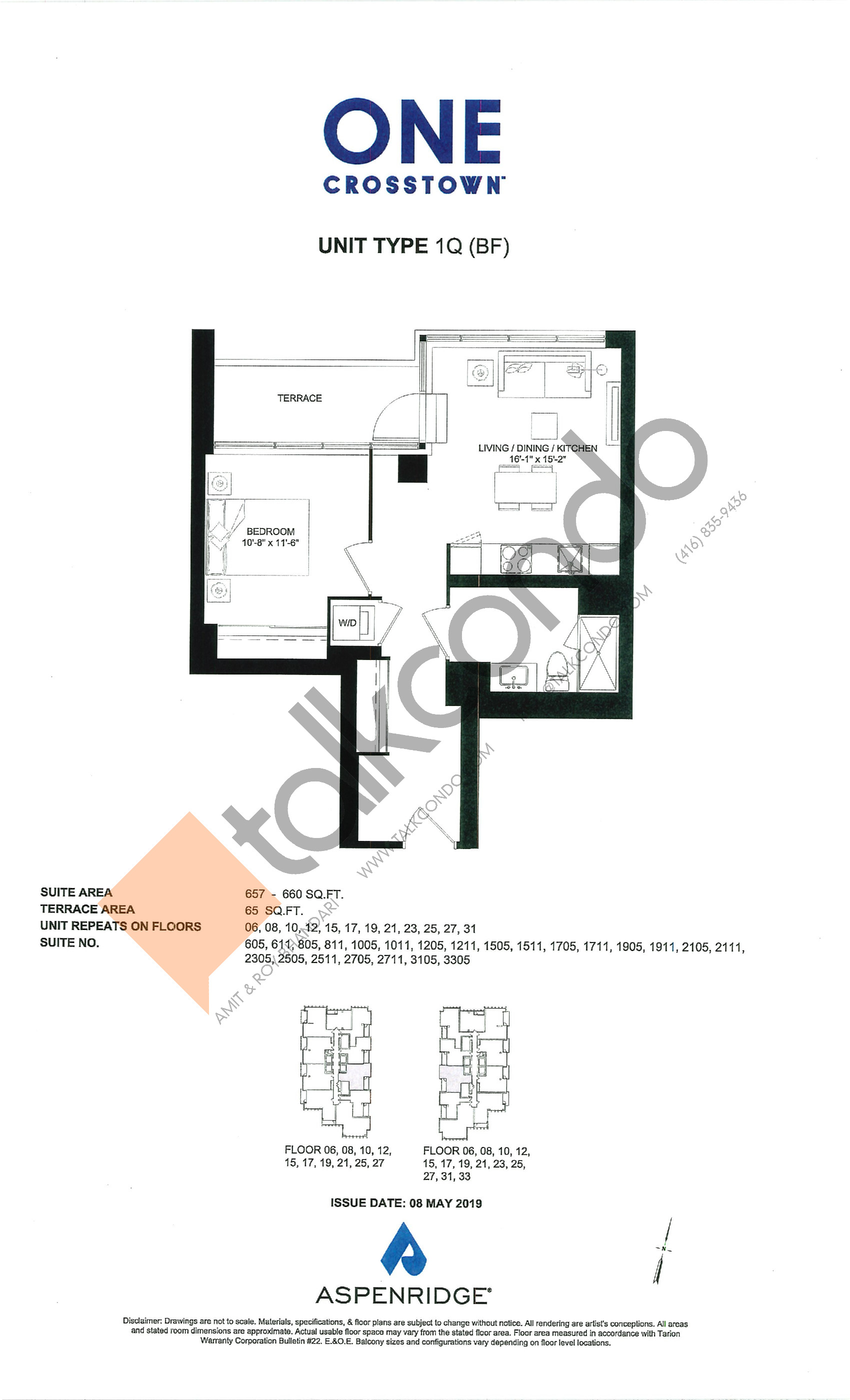 1Q (BF) Floor Plan at One Crosstown Condos - 660 sq.ft