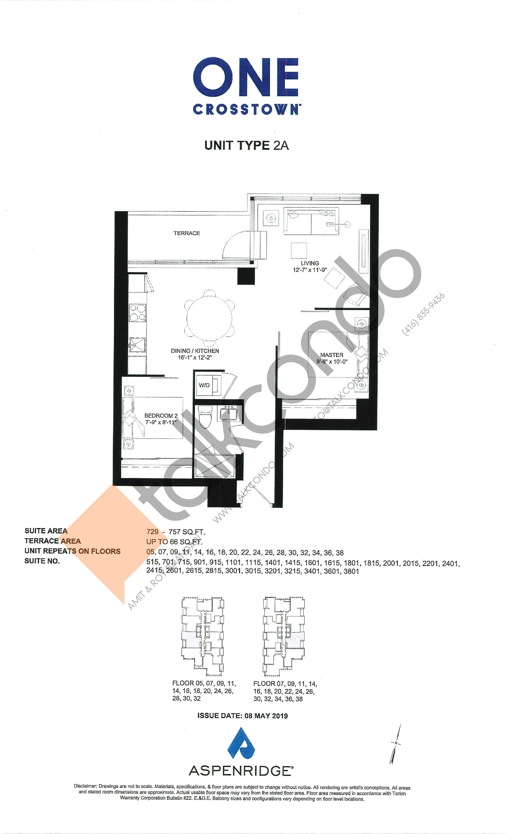 2A Floor Plan at One Crosstown Condos - 757 sq.ft