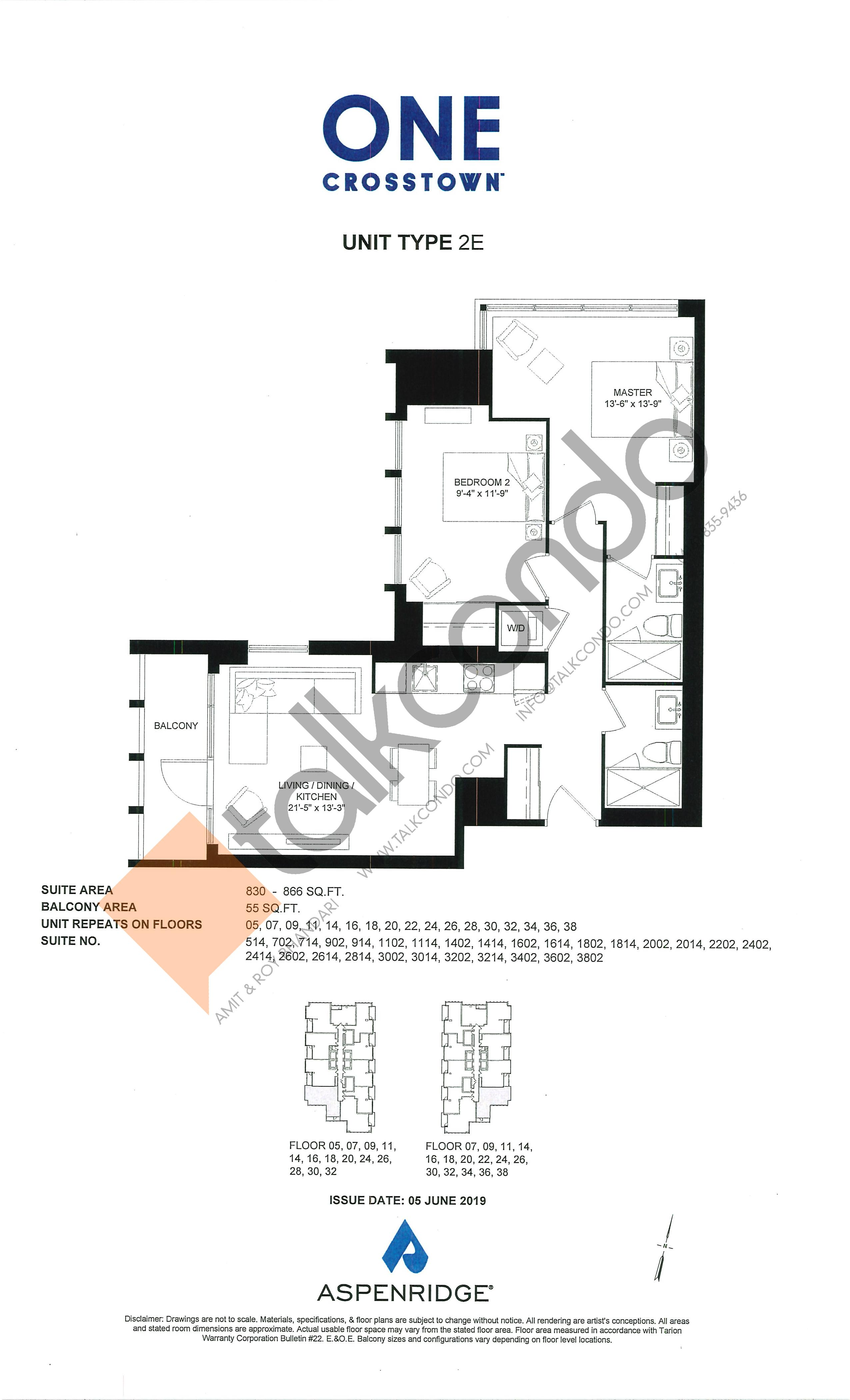 2E Floor Plan at One Crosstown Condos - 866 sq.ft