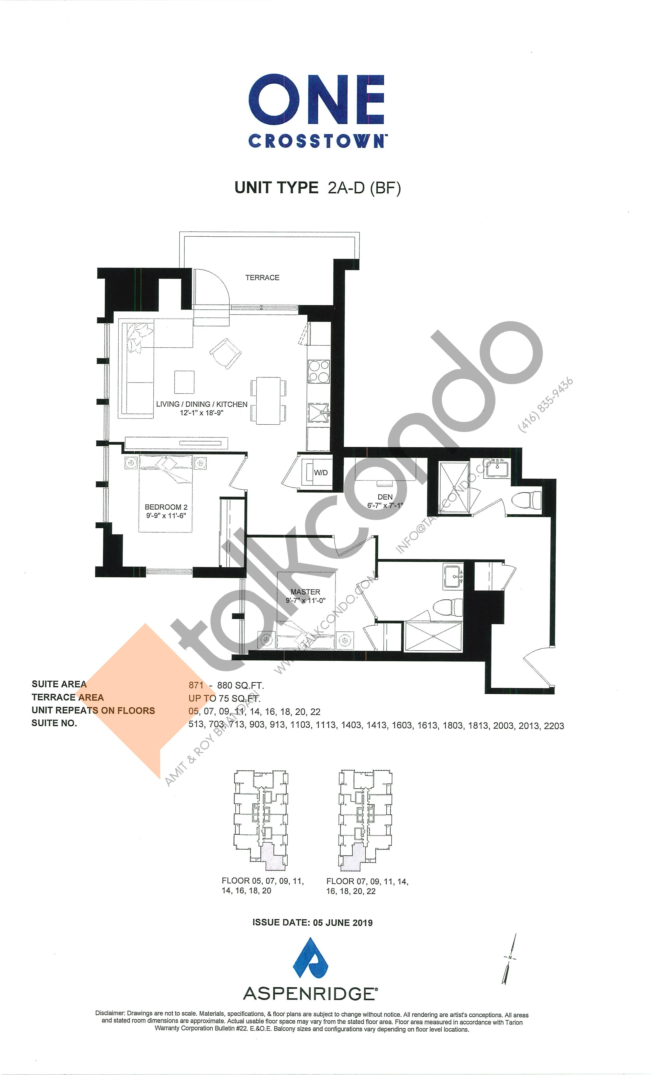 2A-D (BF) Floor Plan at One Crosstown Condos - 880 sq.ft