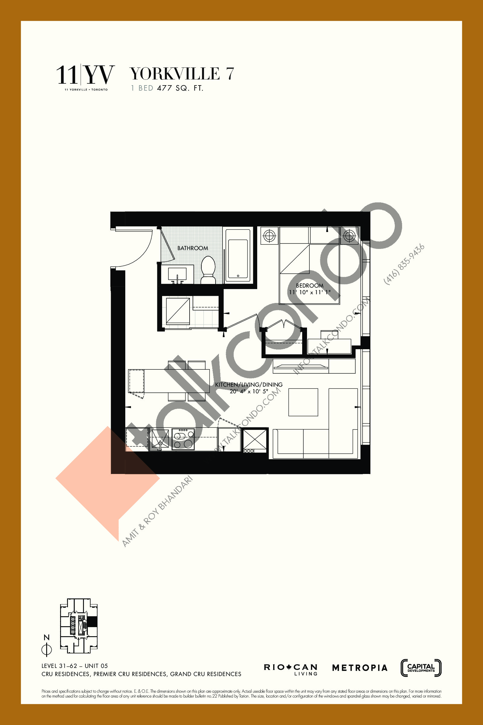 Yorkville 7 Floor Plan at 11YV Condos - 477 sq.ft