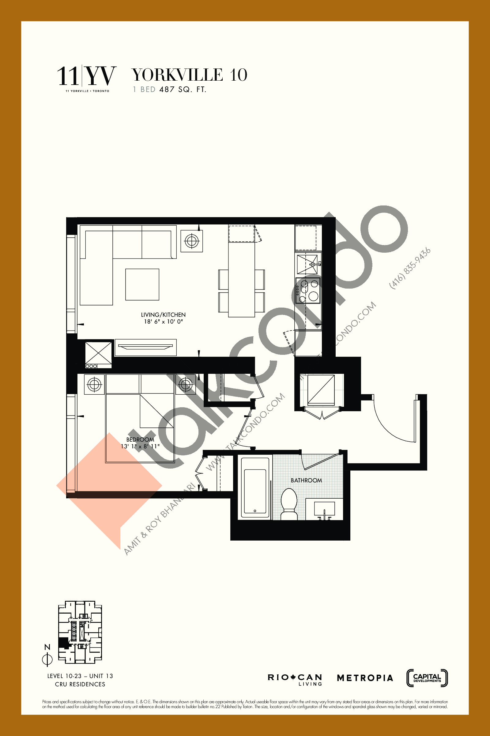 Yorkville 10 Floor Plan at 11YV Condos - 487 sq.ft