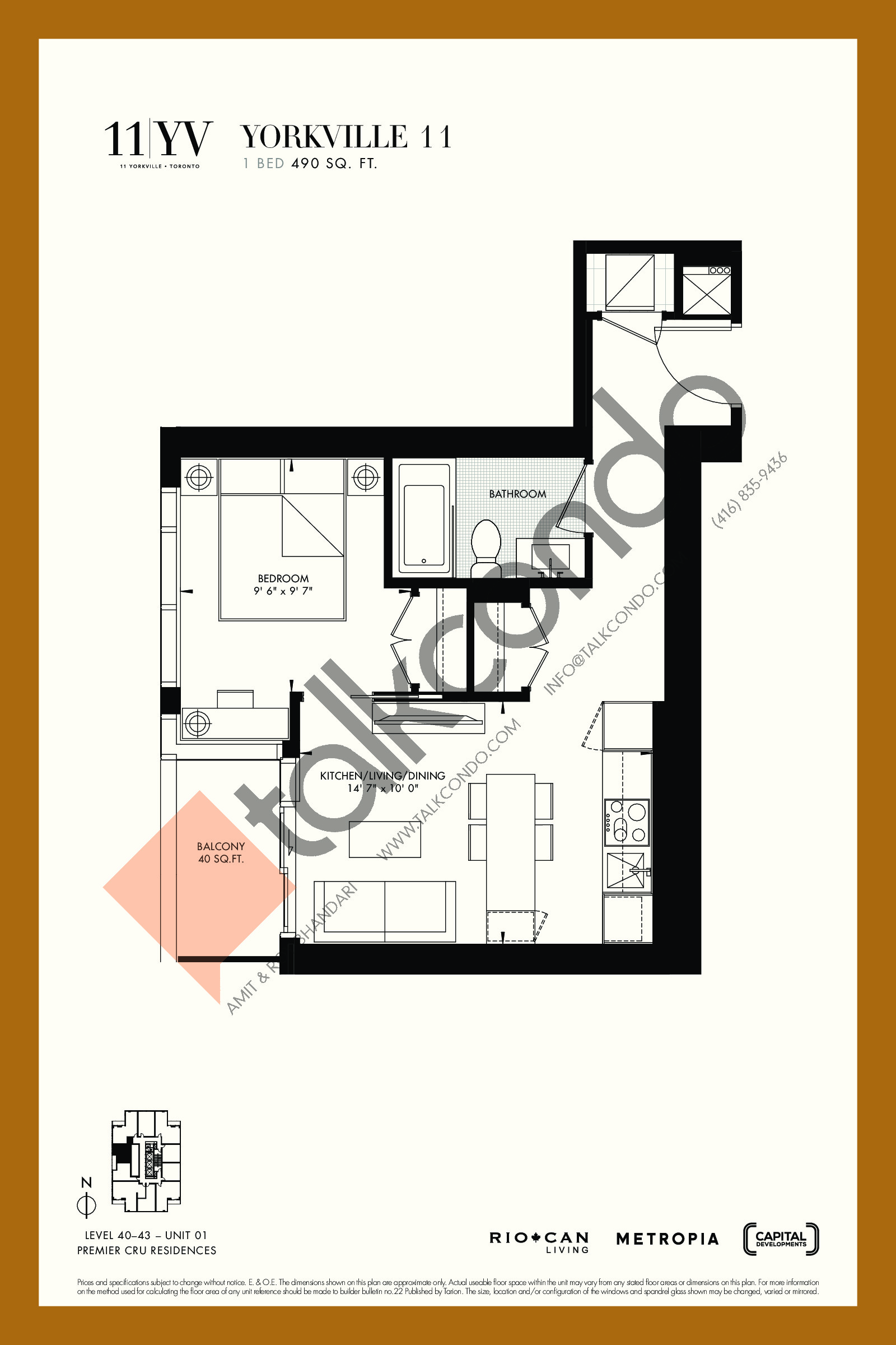 Yorkville 11 Floor Plan at 11YV Condos - 490 sq.ft