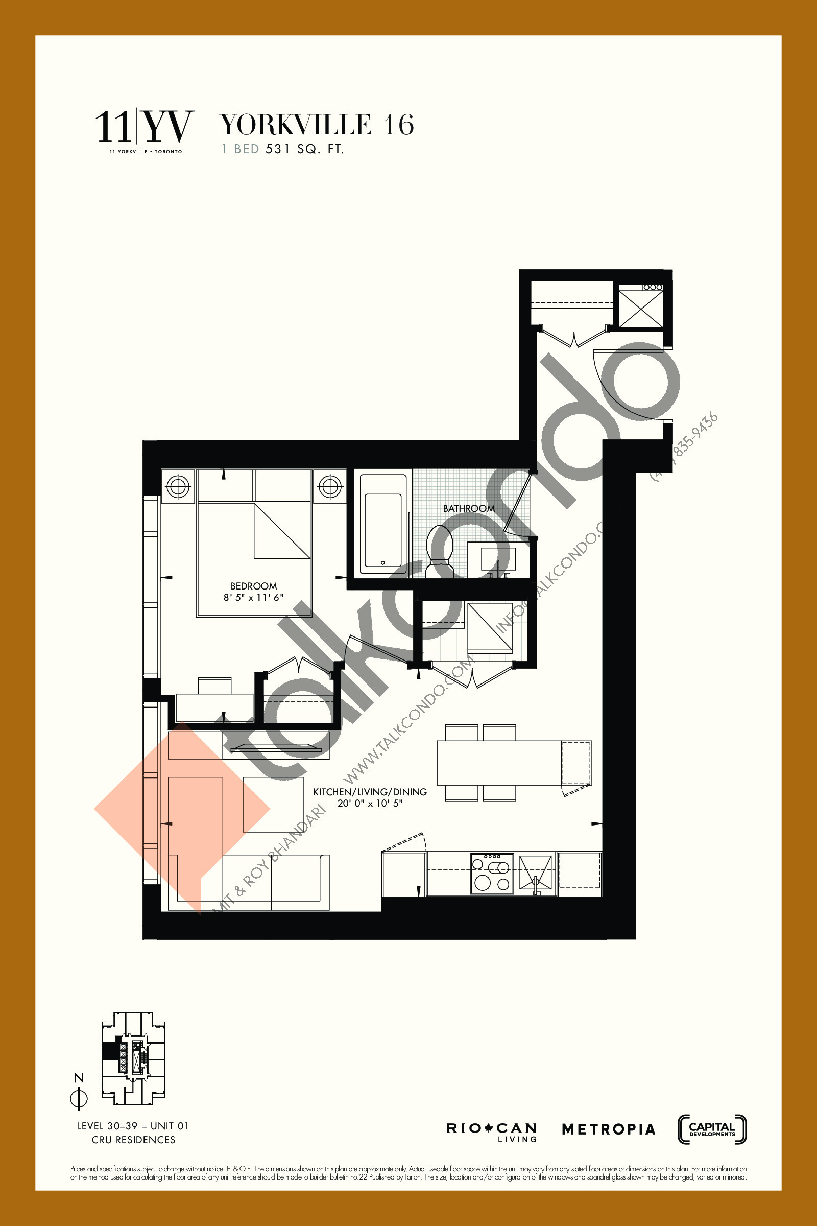 Yorkville 16 Floor Plan at 11YV Condos - 531 sq.ft