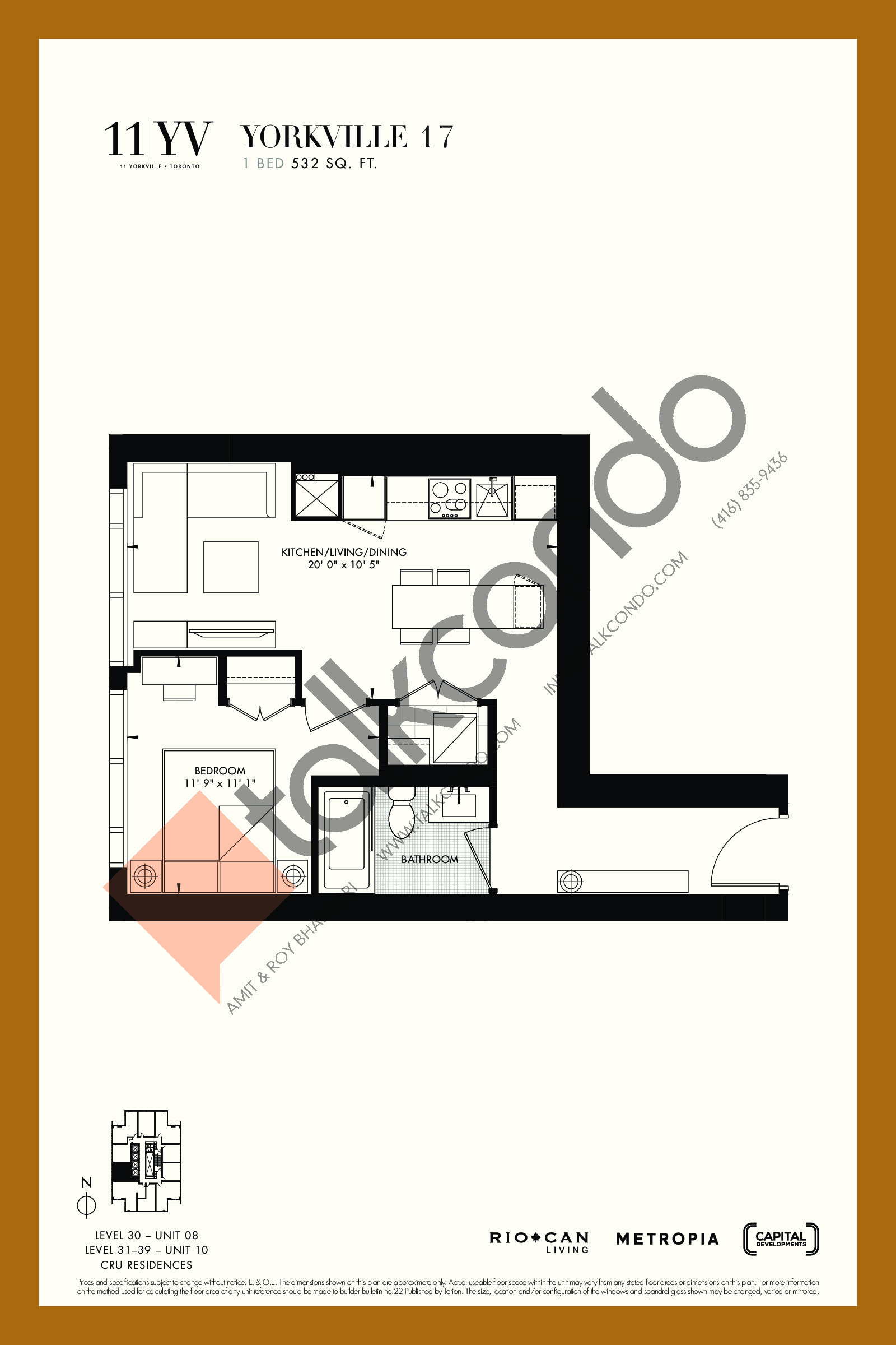 Yorkville 17 Floor Plan at 11YV Condos - 532 sq.ft
