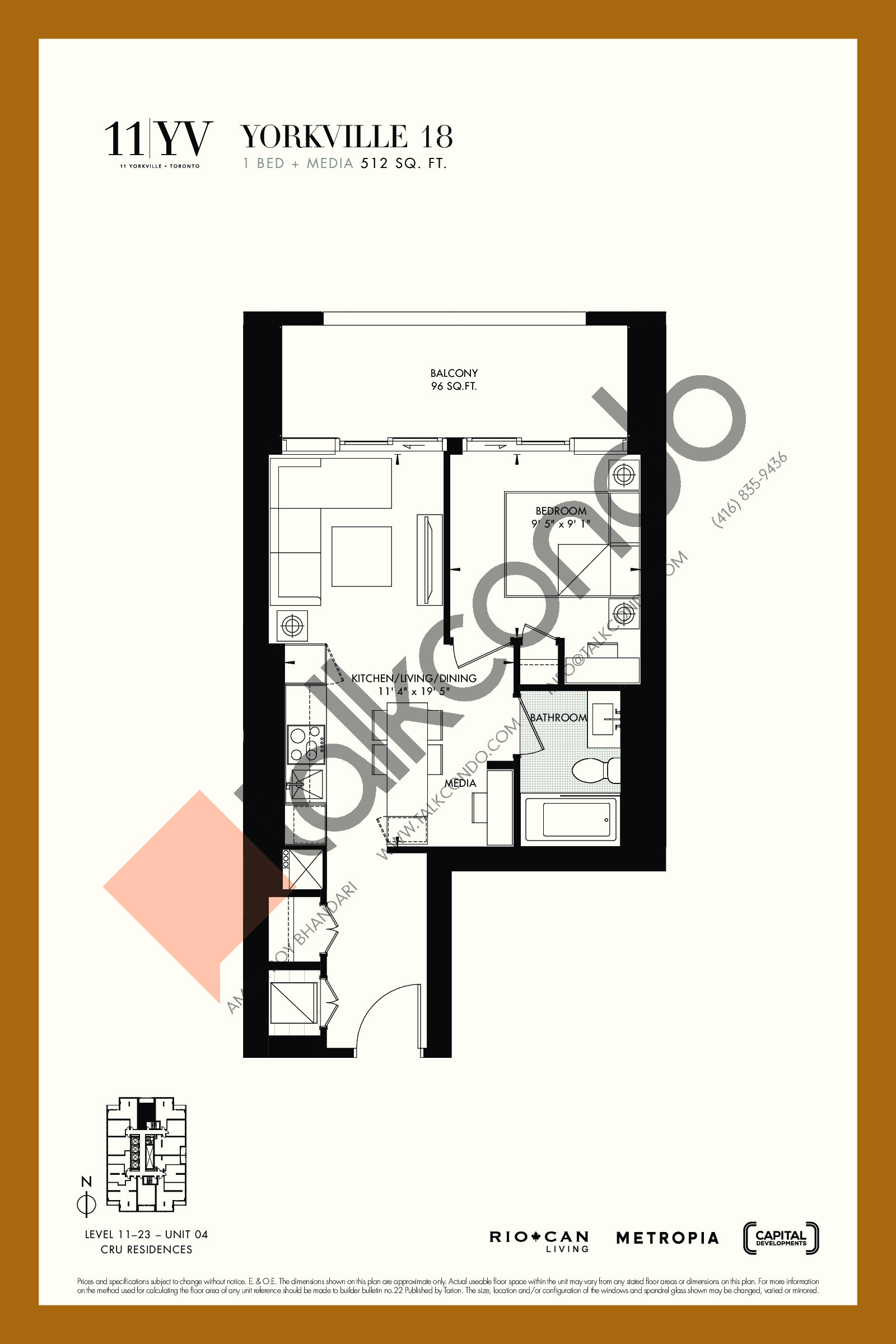 Yorkville 18 Floor Plan at 11YV Condos - 512 sq.ft