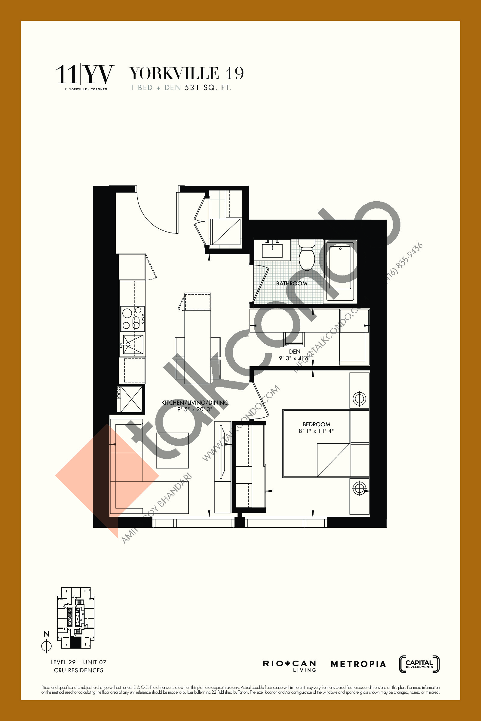 Yorkville 19 Floor Plan at 11YV Condos - 531 sq.ft