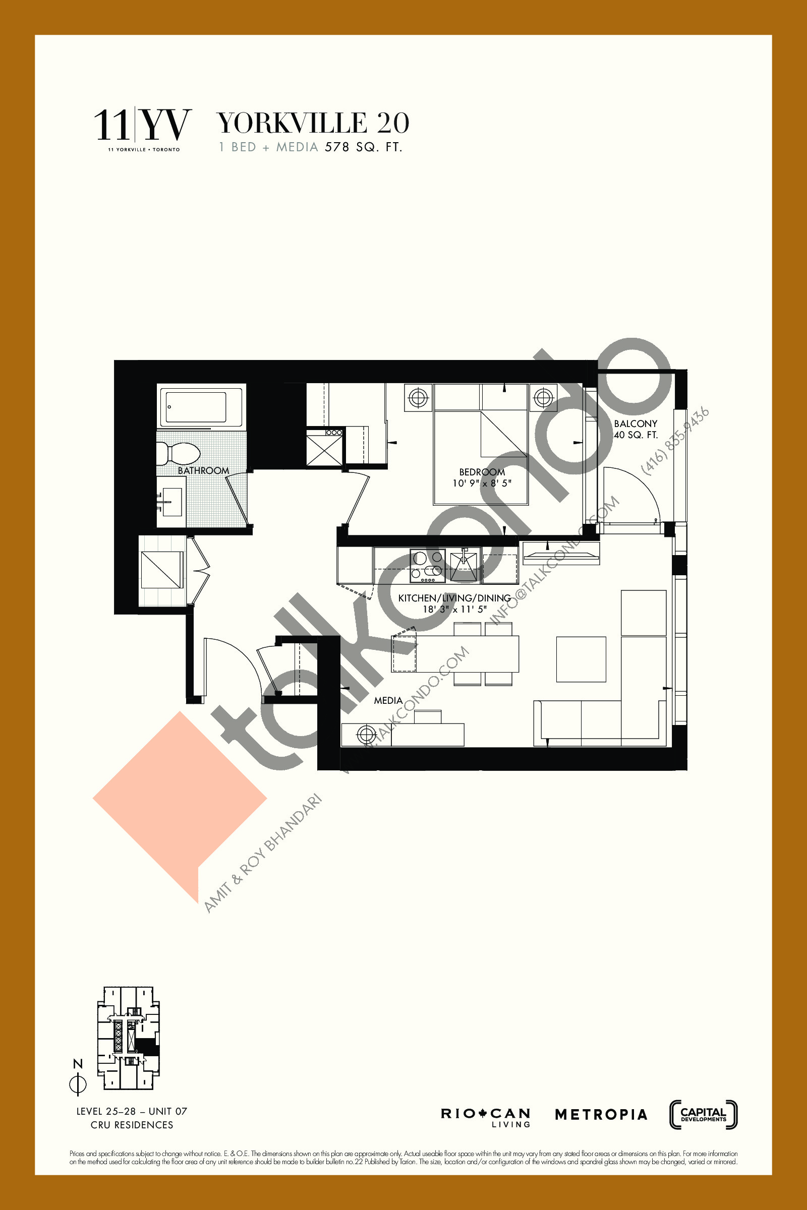 Yorkville 20 Floor Plan at 11YV Condos - 578 sq.ft