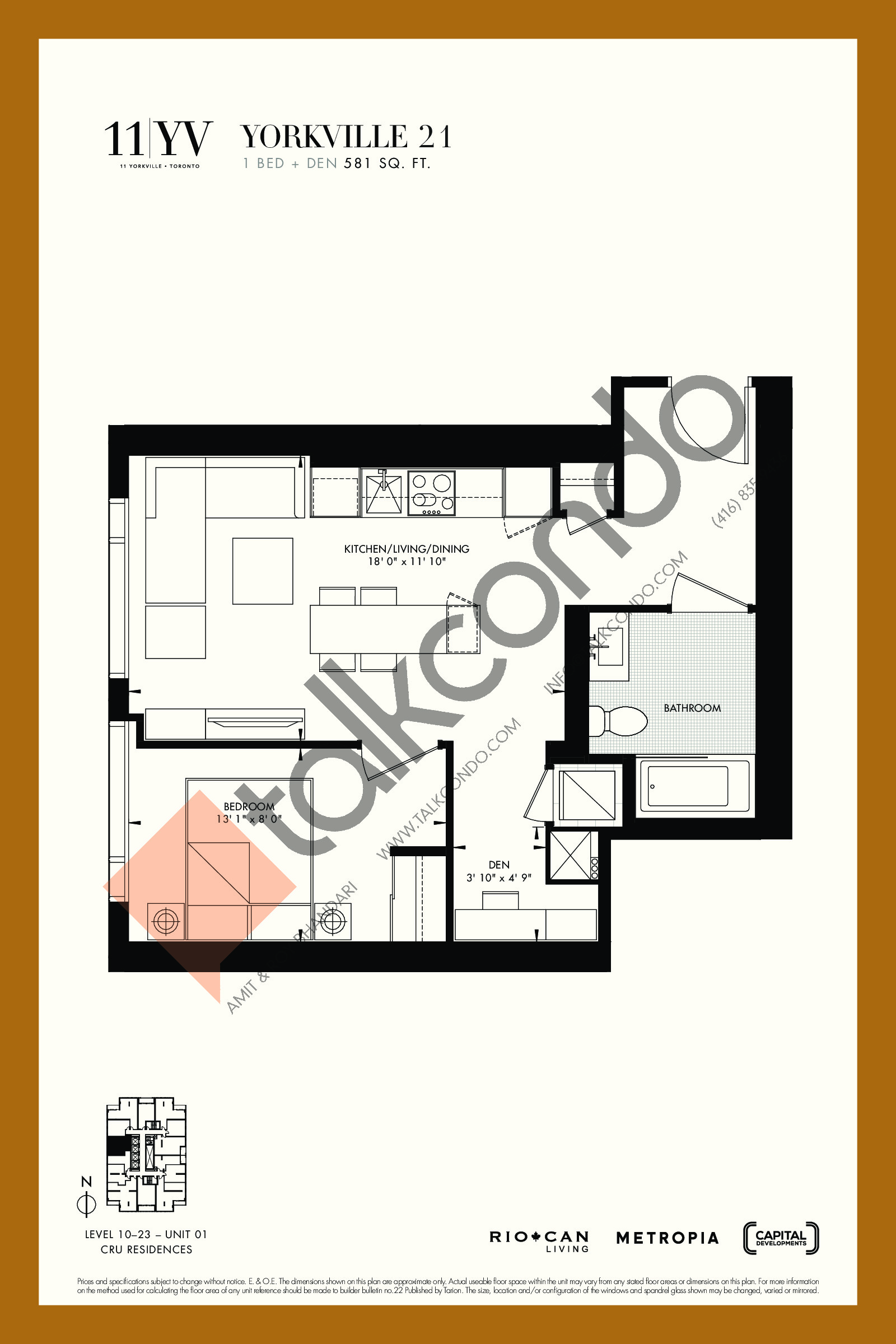 Yorkville 21 Floor Plan at 11YV Condos - 581 sq.ft