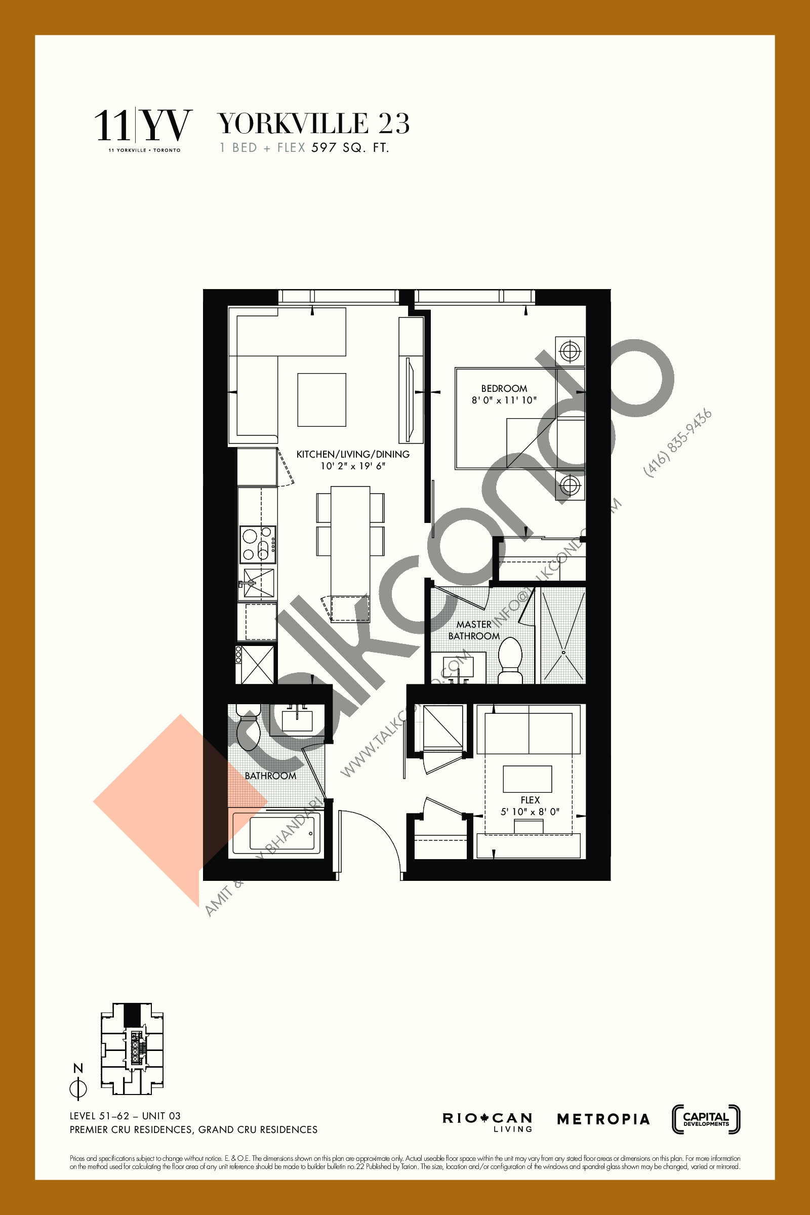 Yorkville 23 Floor Plan at 11YV Condos - 597 sq.ft